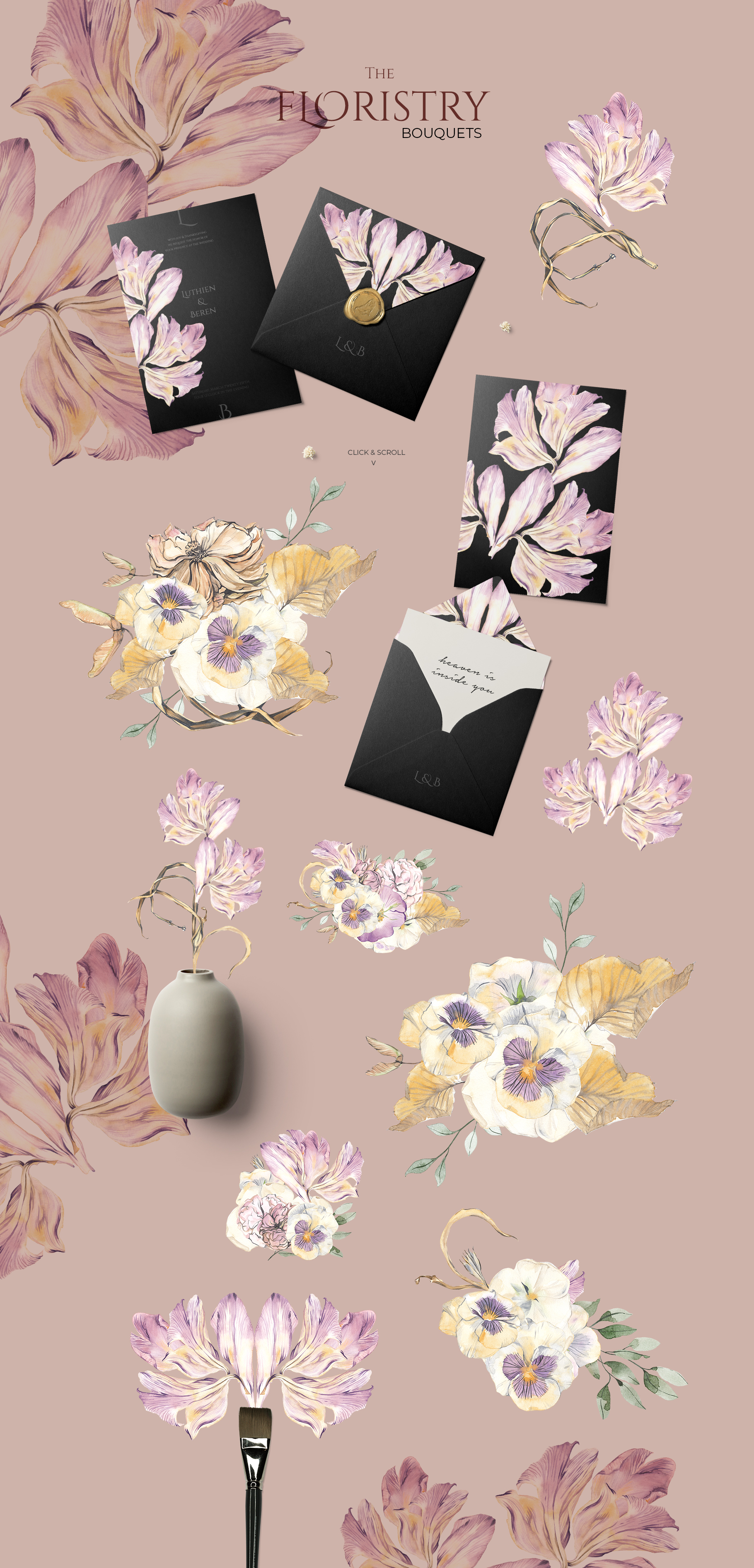 THE FLORISTRY floral collection - watercolor, line art, real example image 5