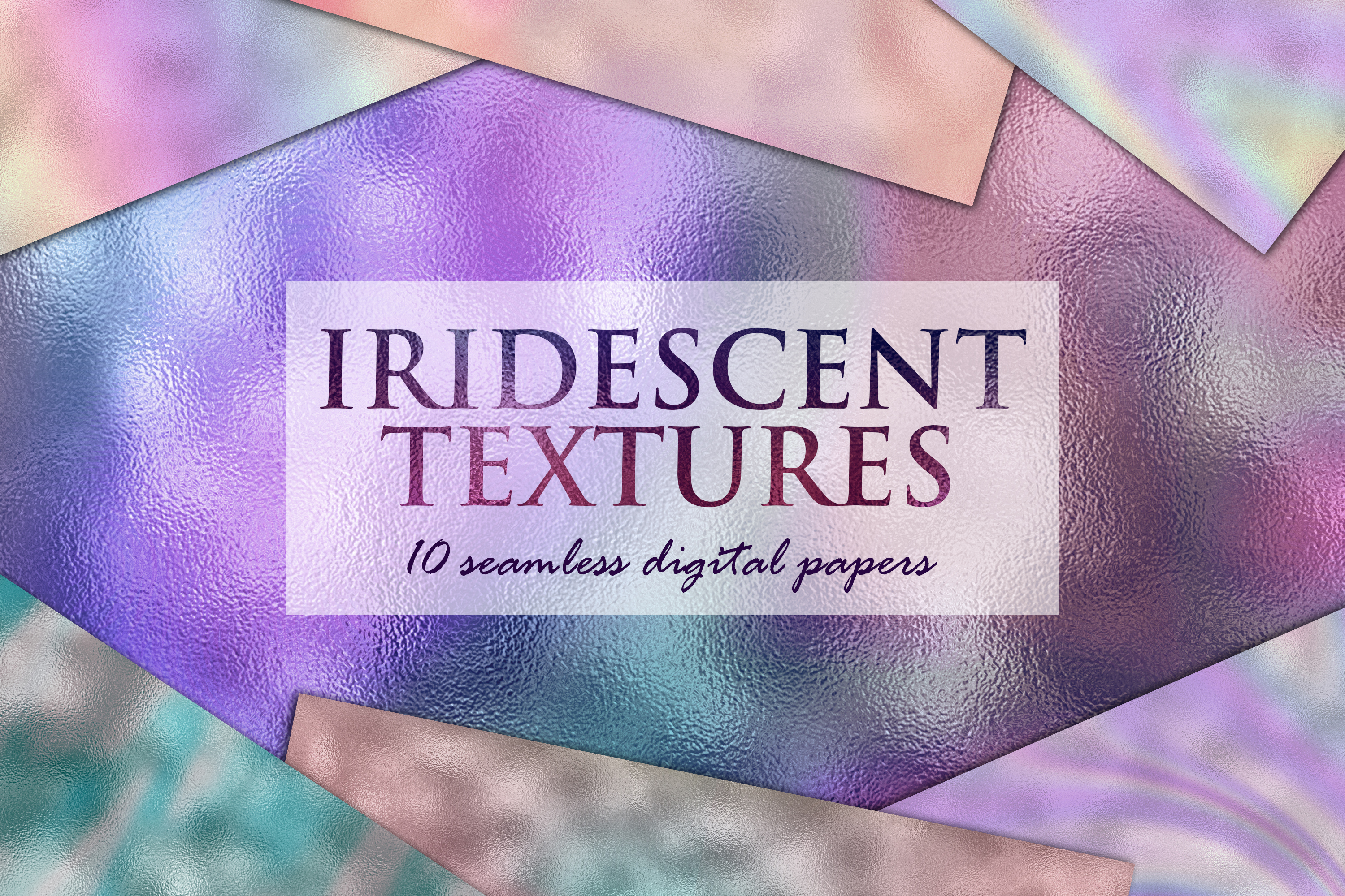 10 Iridescent Textures - Seamless Holographic Foil example image 1