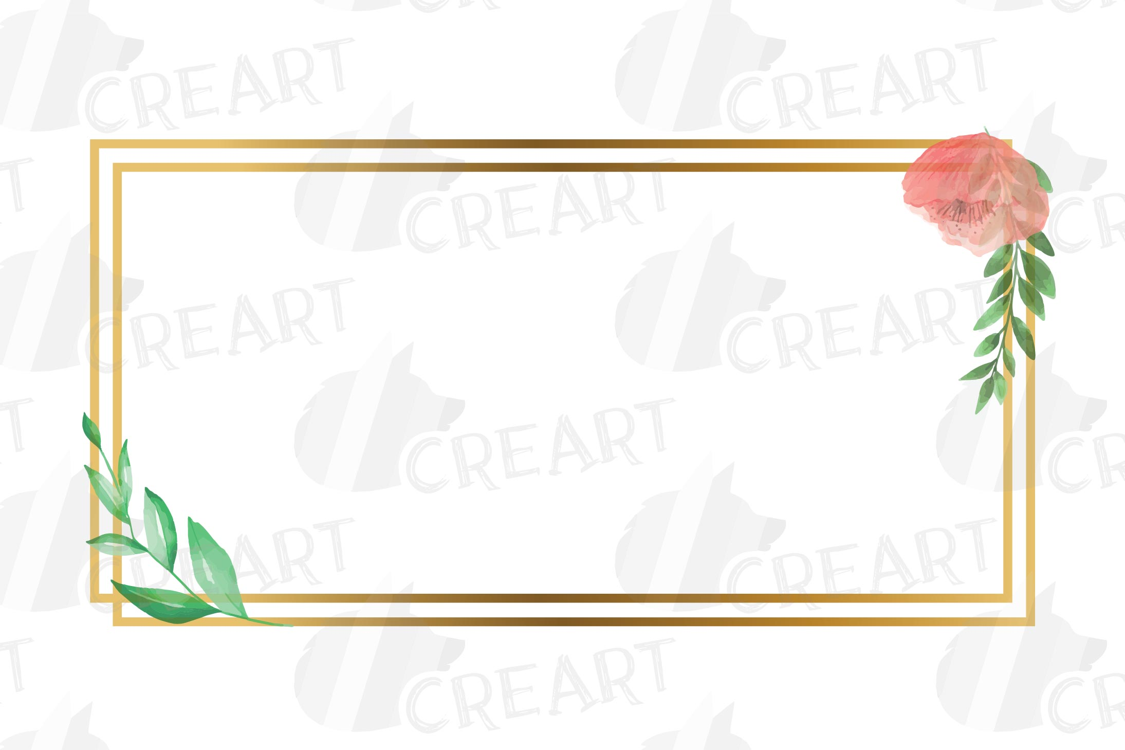 Golden Floral Frames Clip Art. Wedding geometric borders png example image 15