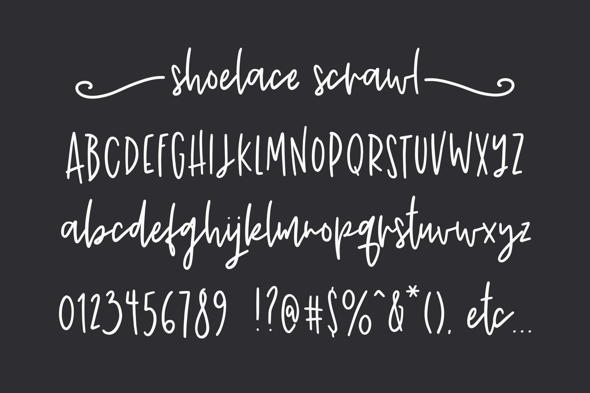 Shoelace Scrawl, a handwriting font example 2