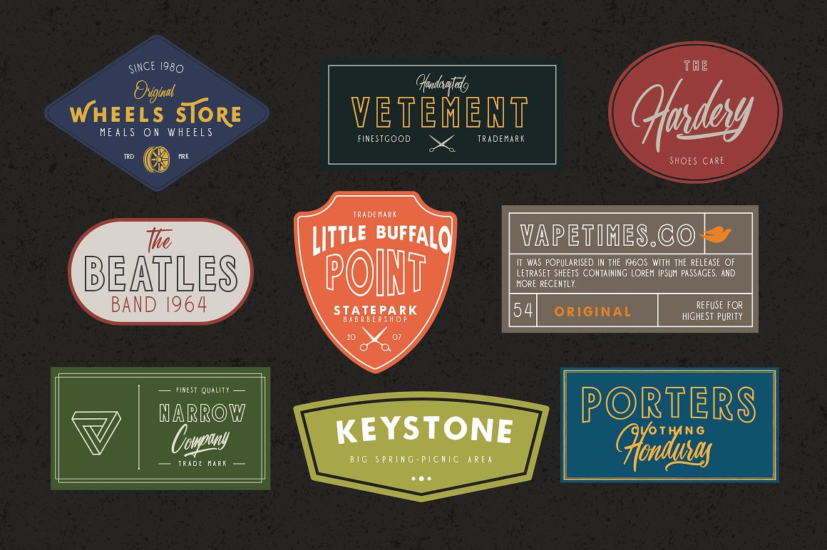 Harbour 5 Font Family & Extra Badges, illustration  example image 3