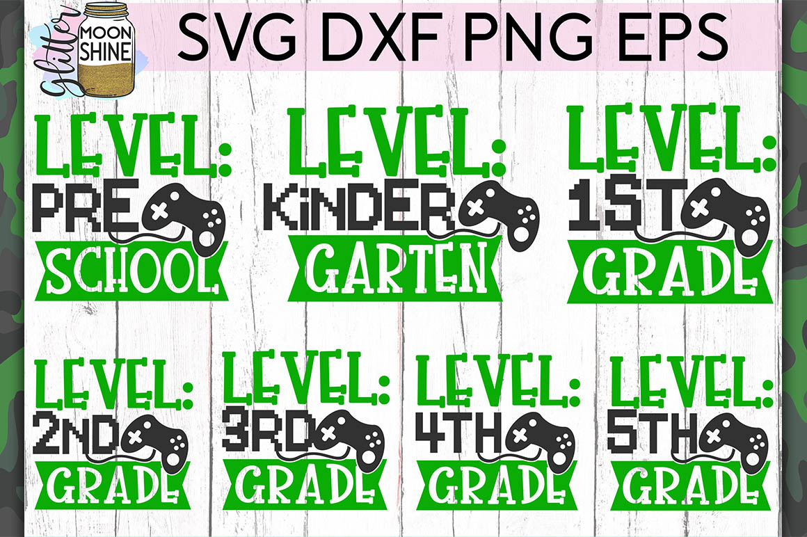 Level Grade Bundle of 7 SVG DXF PNG EPS Cut Files example image 1