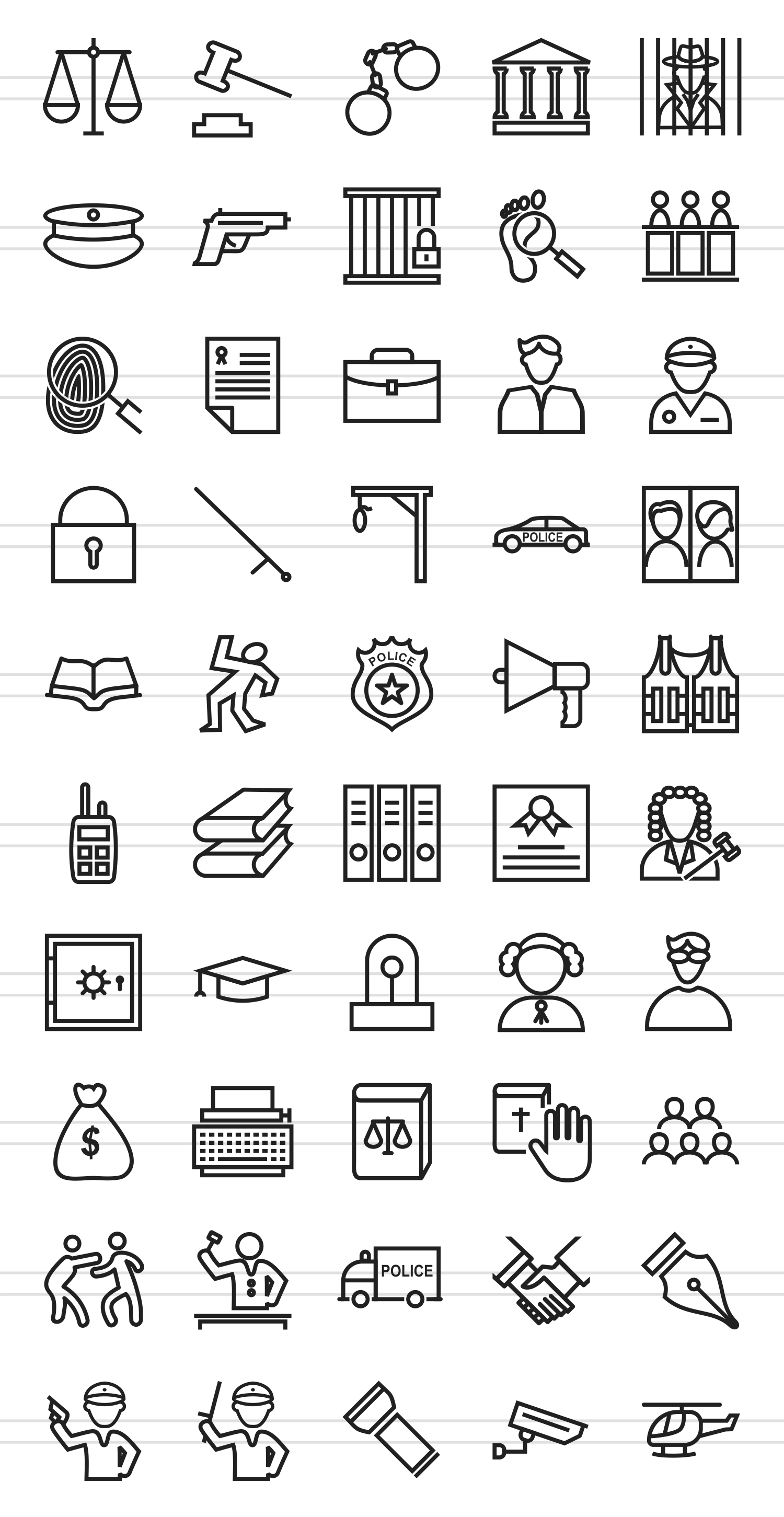 50 Law & Order Line Icons example image 2