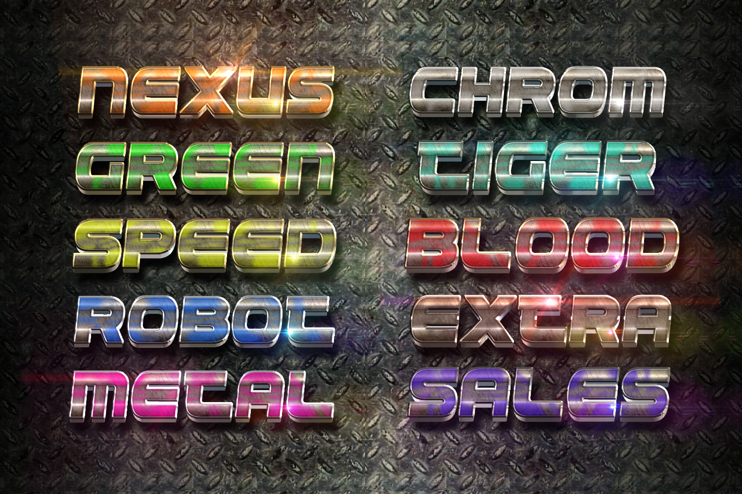 3D Chrome Light Text Effect example image 3