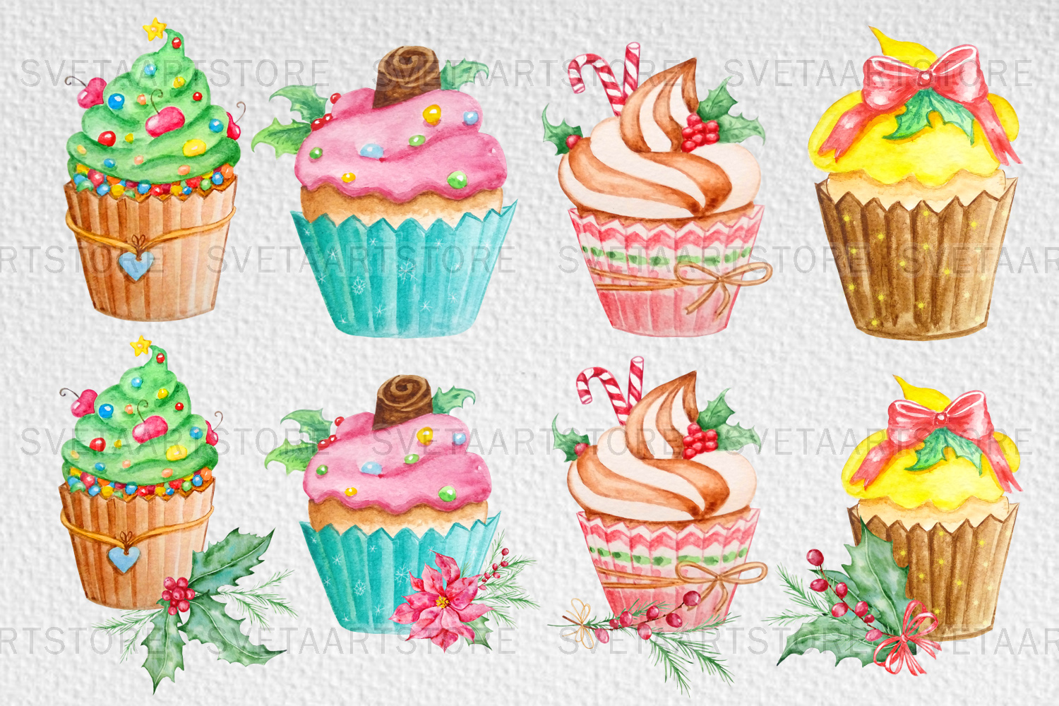 Christmas cupcakes clipart, watercolor cake example image 3