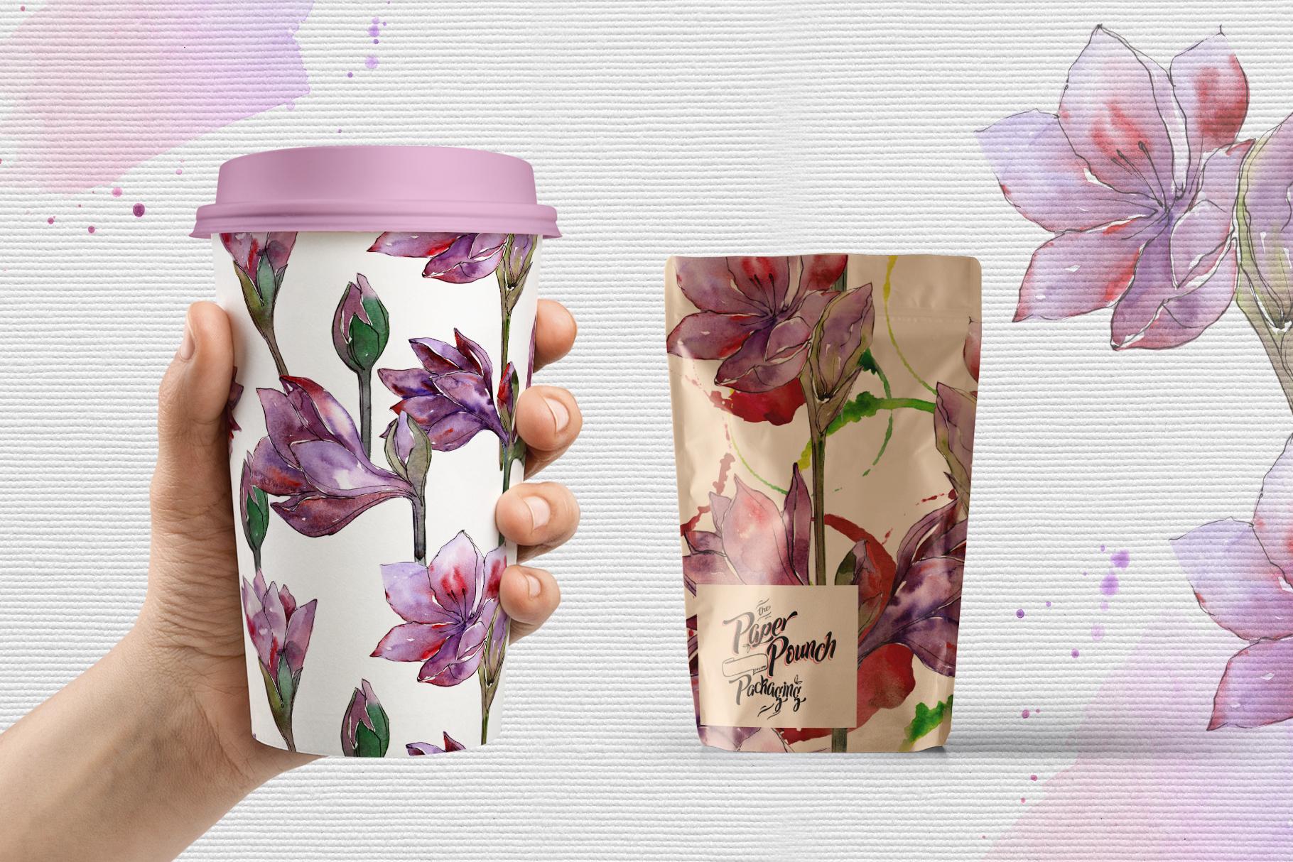 Purple amaryllis PNG watercolor set example image 4