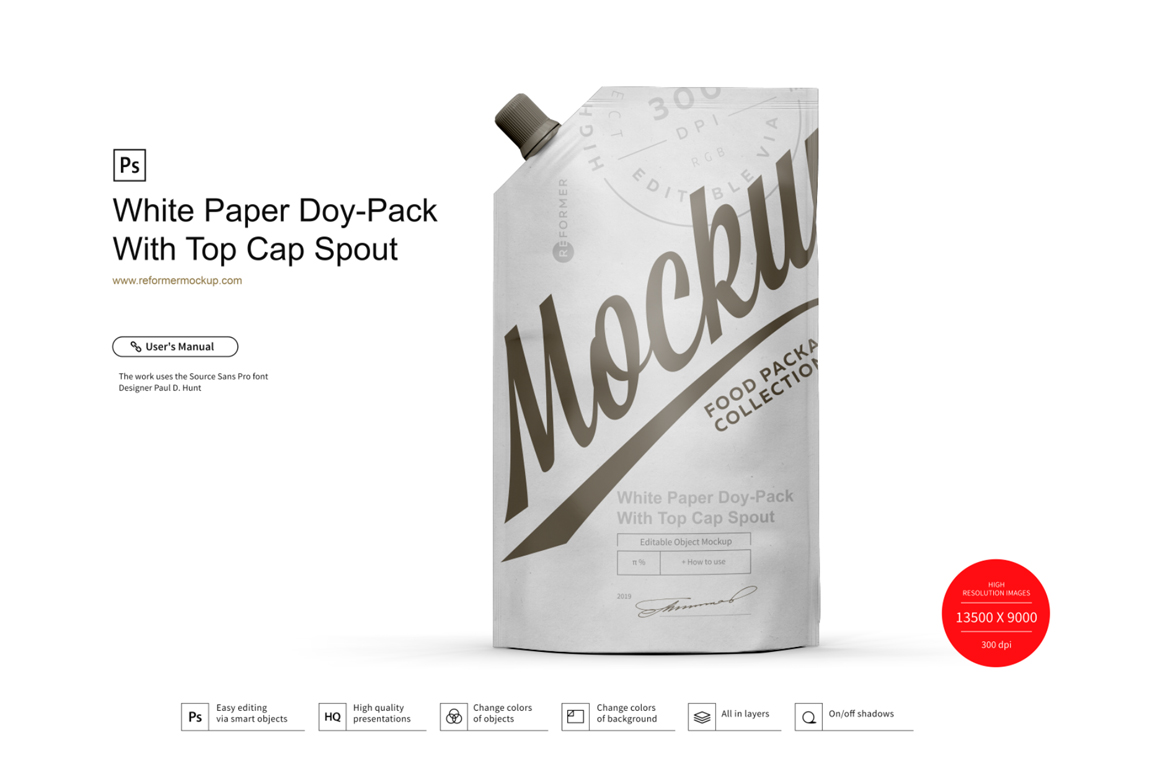 White Paper Doy-Pack With Top Cap Spout Mockup example image 1