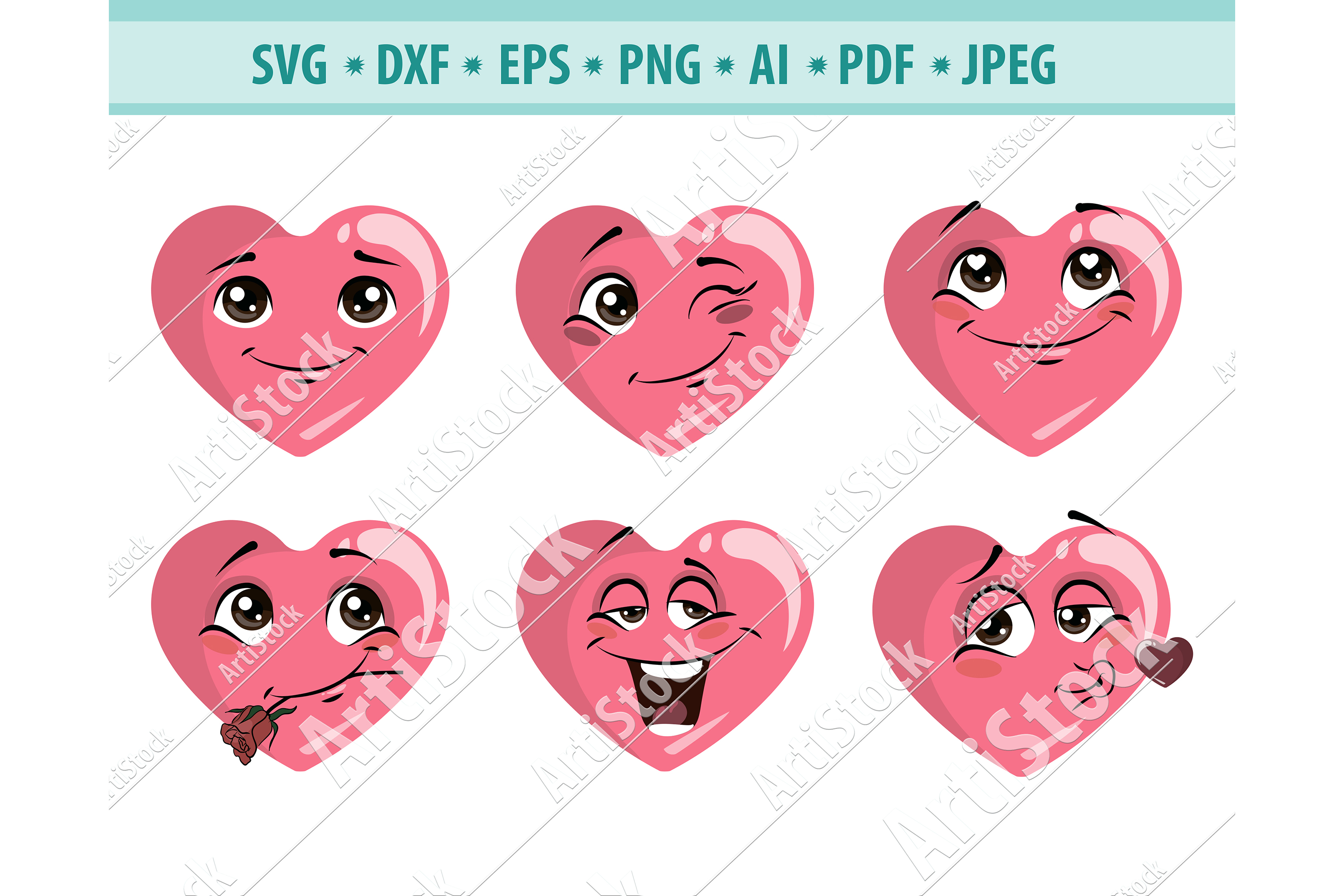 Heart SVG, Valentines Day SVG, Love clipart Dxf, Png, Eps example image 1