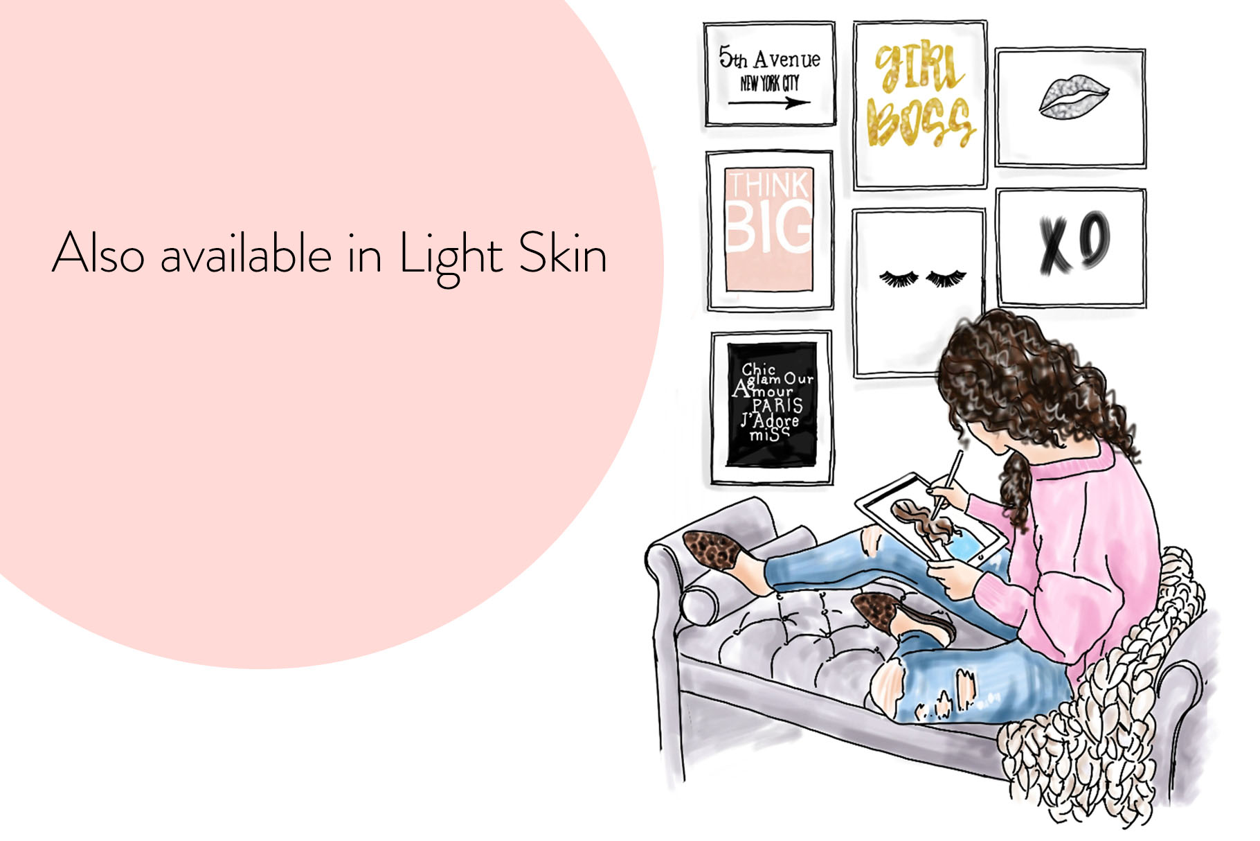 Fashion illustration - Girl Boss 5 - Dark Skin example image 6