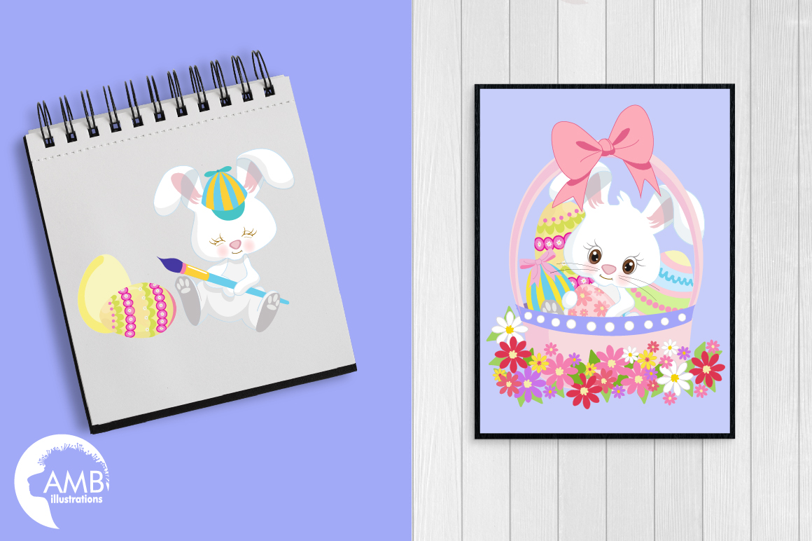 Easter Bunnies clipart, graphics, illustrations AMB-1182 example image 3
