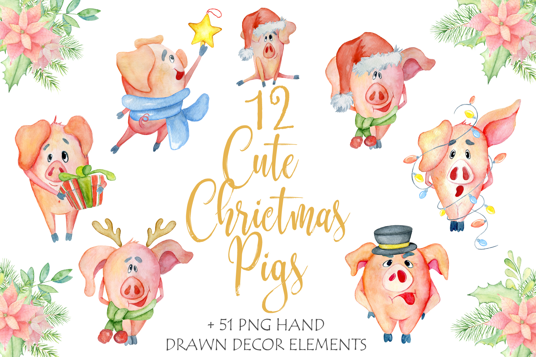 Cute Christmas pigs with decor elements for New Year 2019 example image 1
