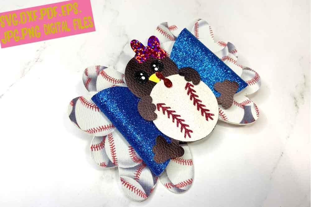 Thanksgiving Turkey Baseball Hair Bow Template, Cheer Bow example image 1