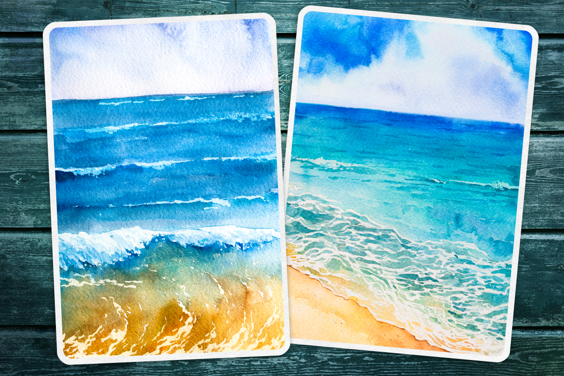 Seascapes 2. Watercolor set. example image 3