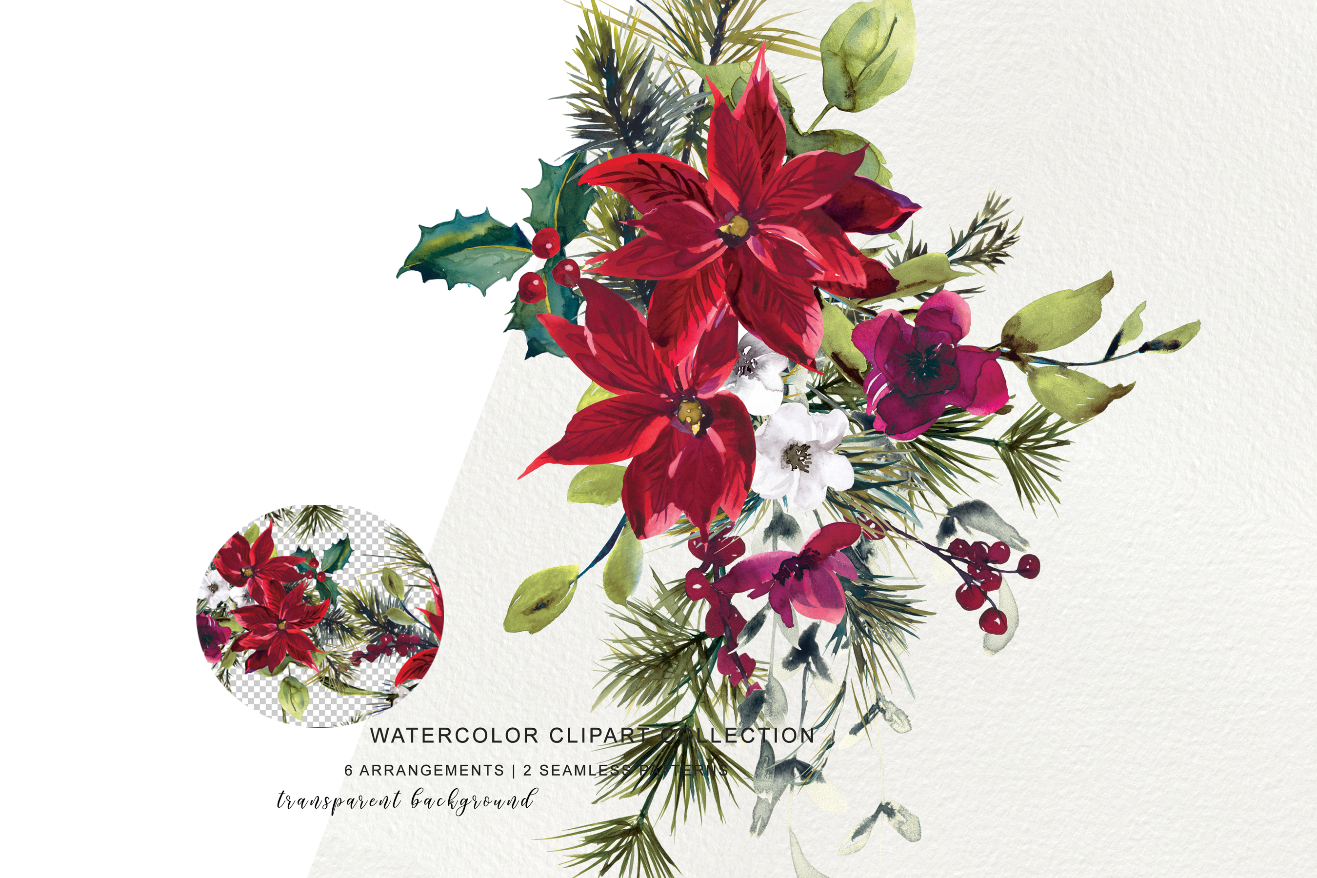 Watercolor Poinsettia Christmas Clipart example image 5