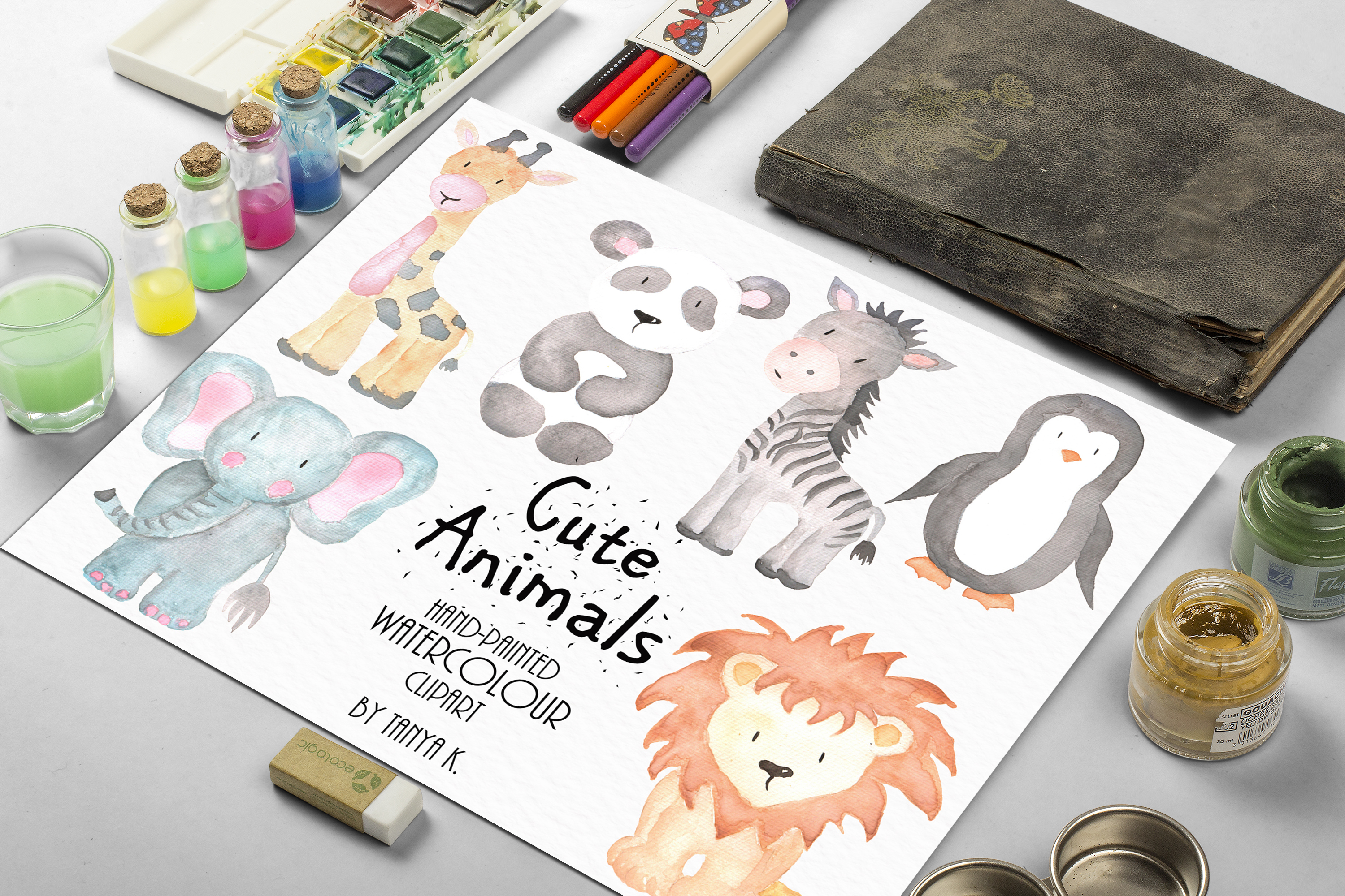 Cute Animals Watercolor Set example image 2