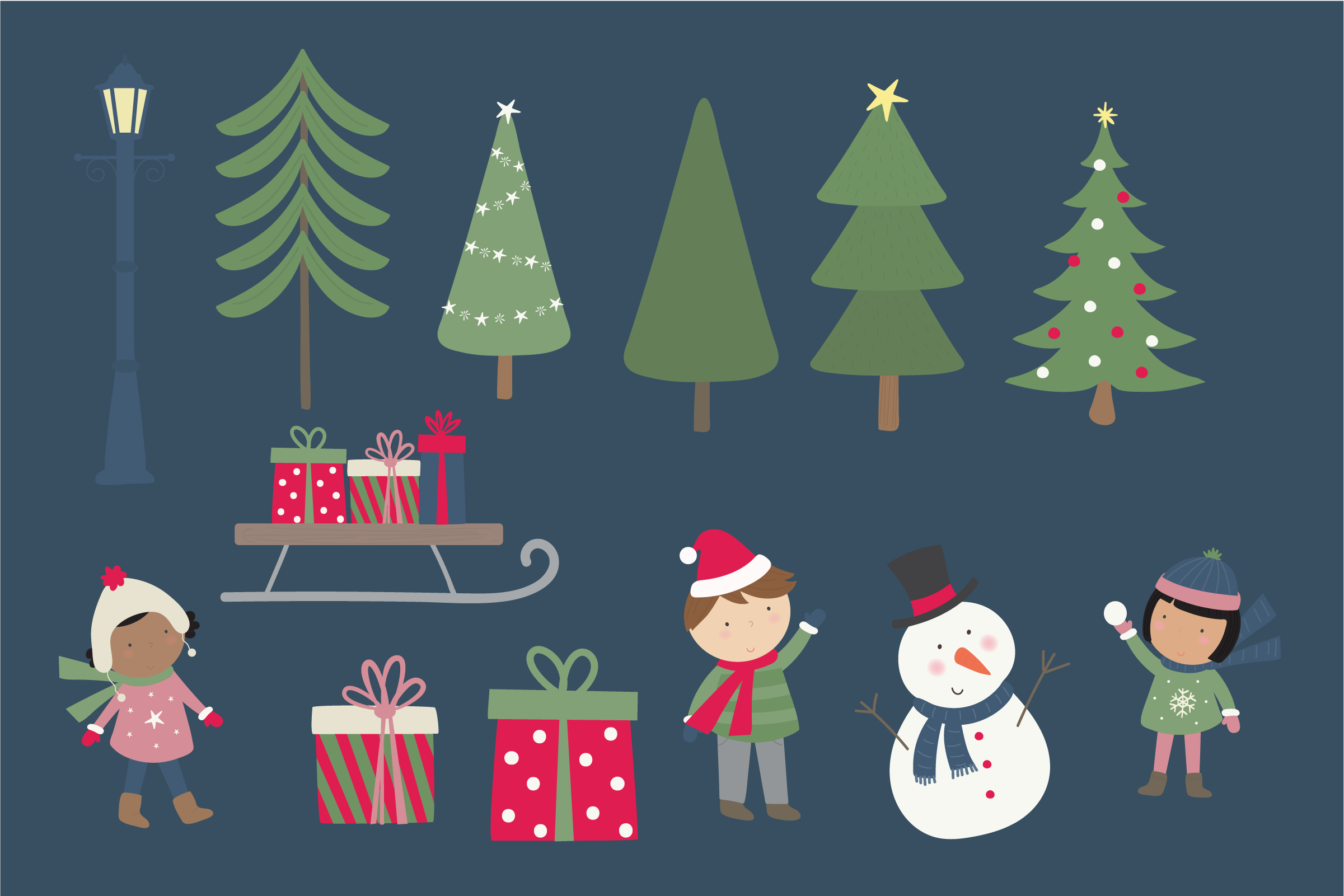 Holiday village clipart and paper example image 3