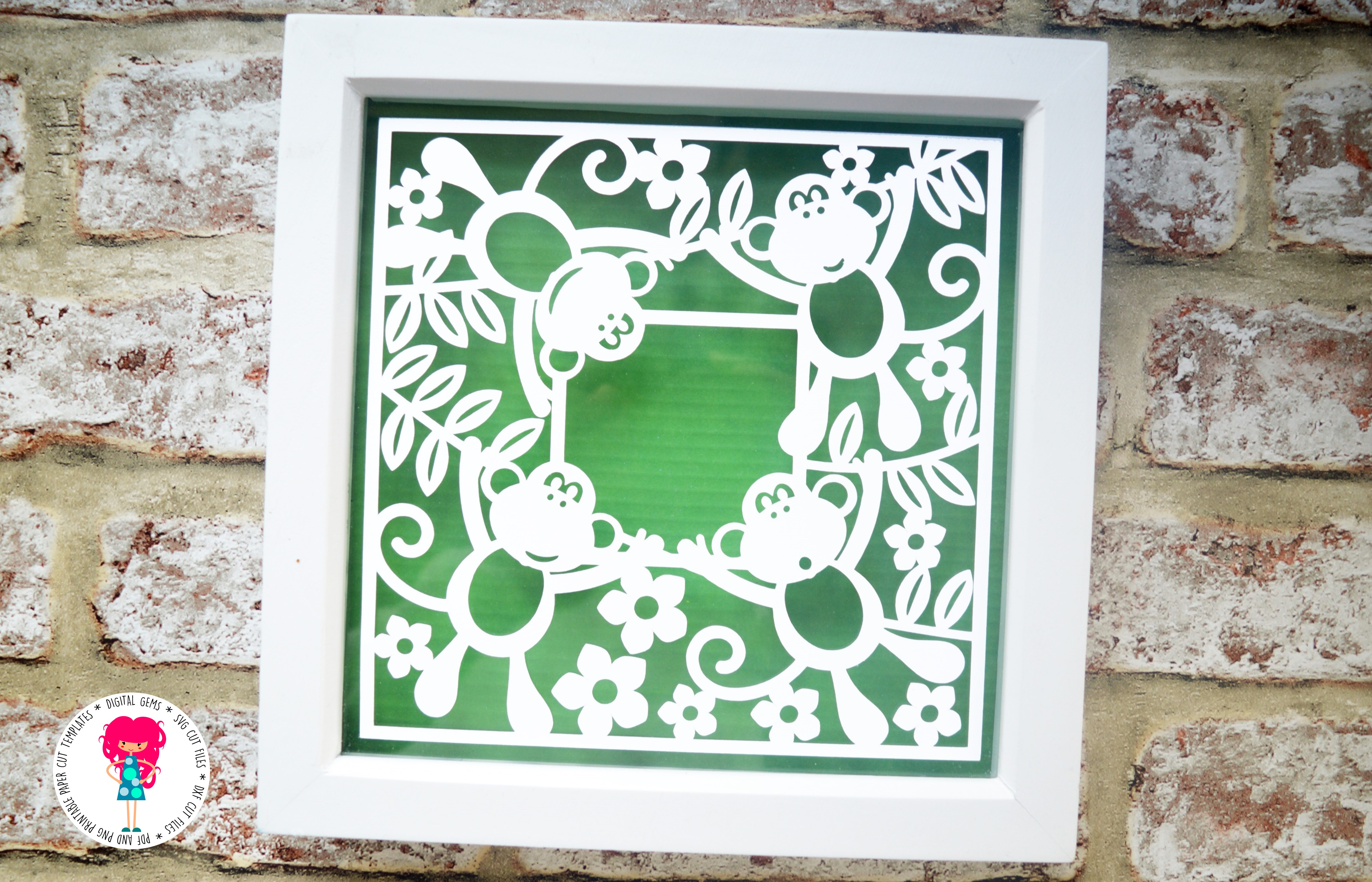 Monkey Frame paper cut SVG  DXF  EPS files example image 3