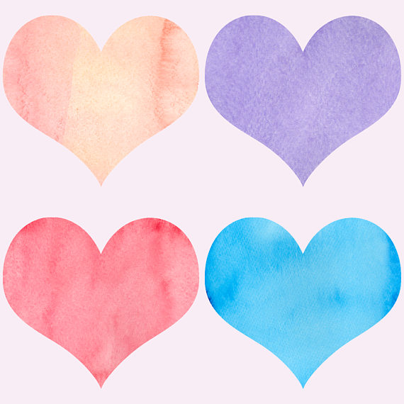 Watercolor hearts clipart example image 5