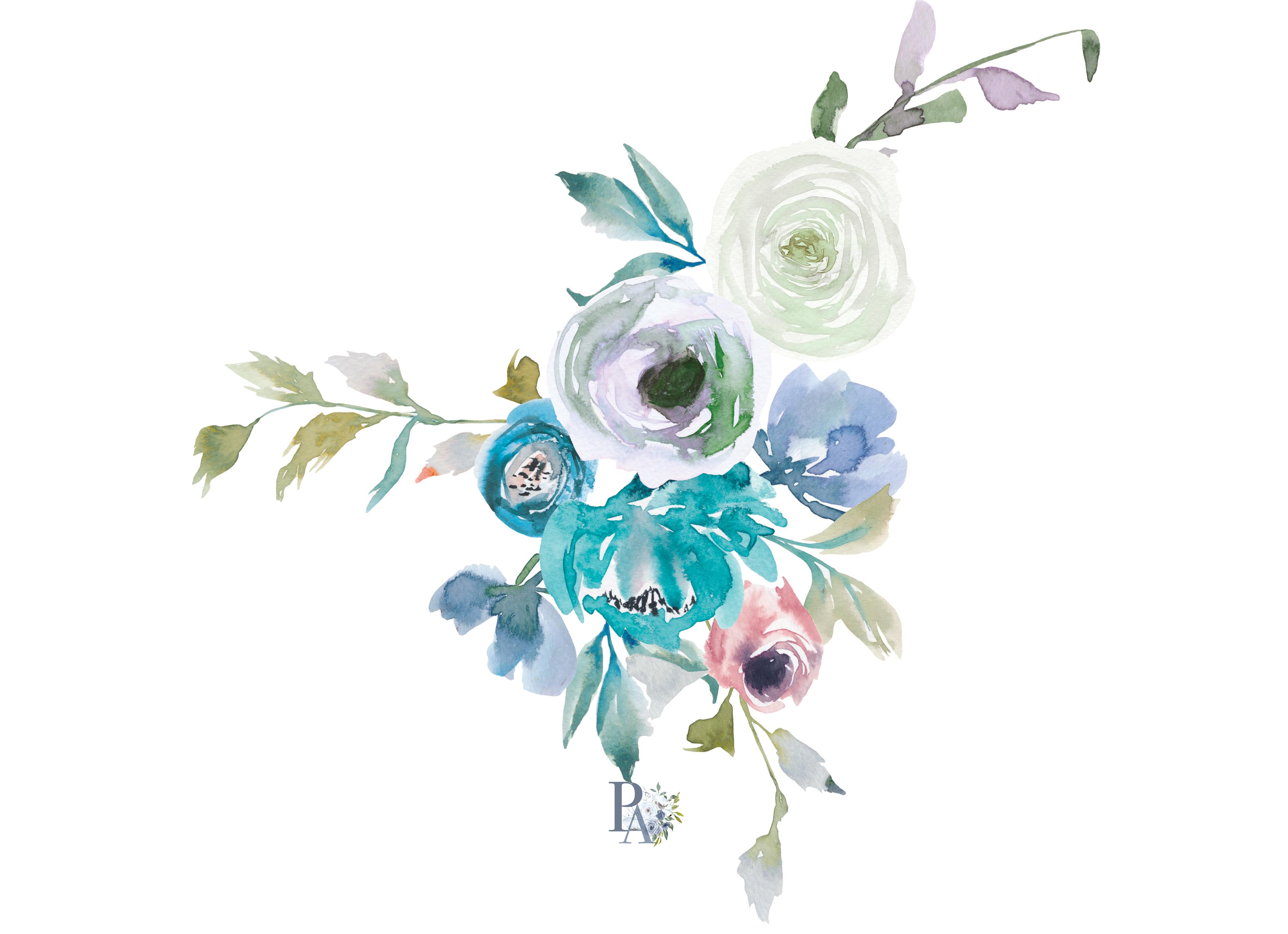 watercolor dusty blue ampturquoise floral clipart