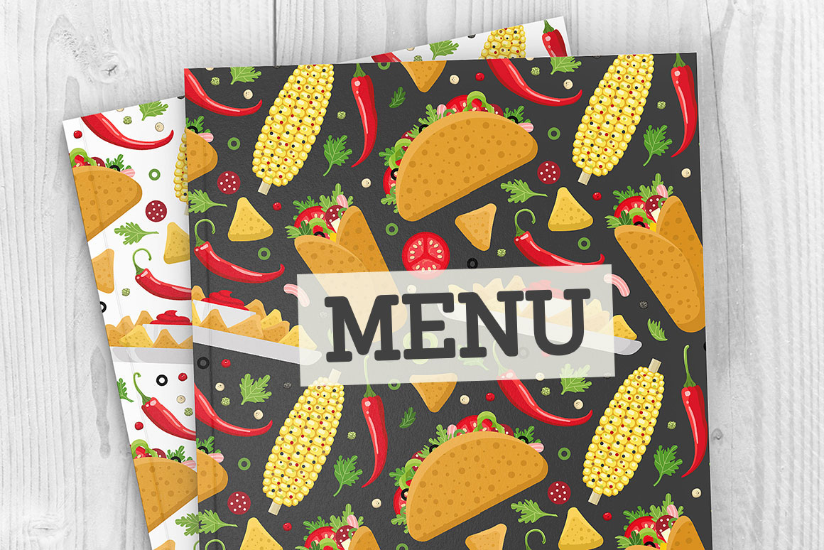 Mexican food set and patterns example image 5