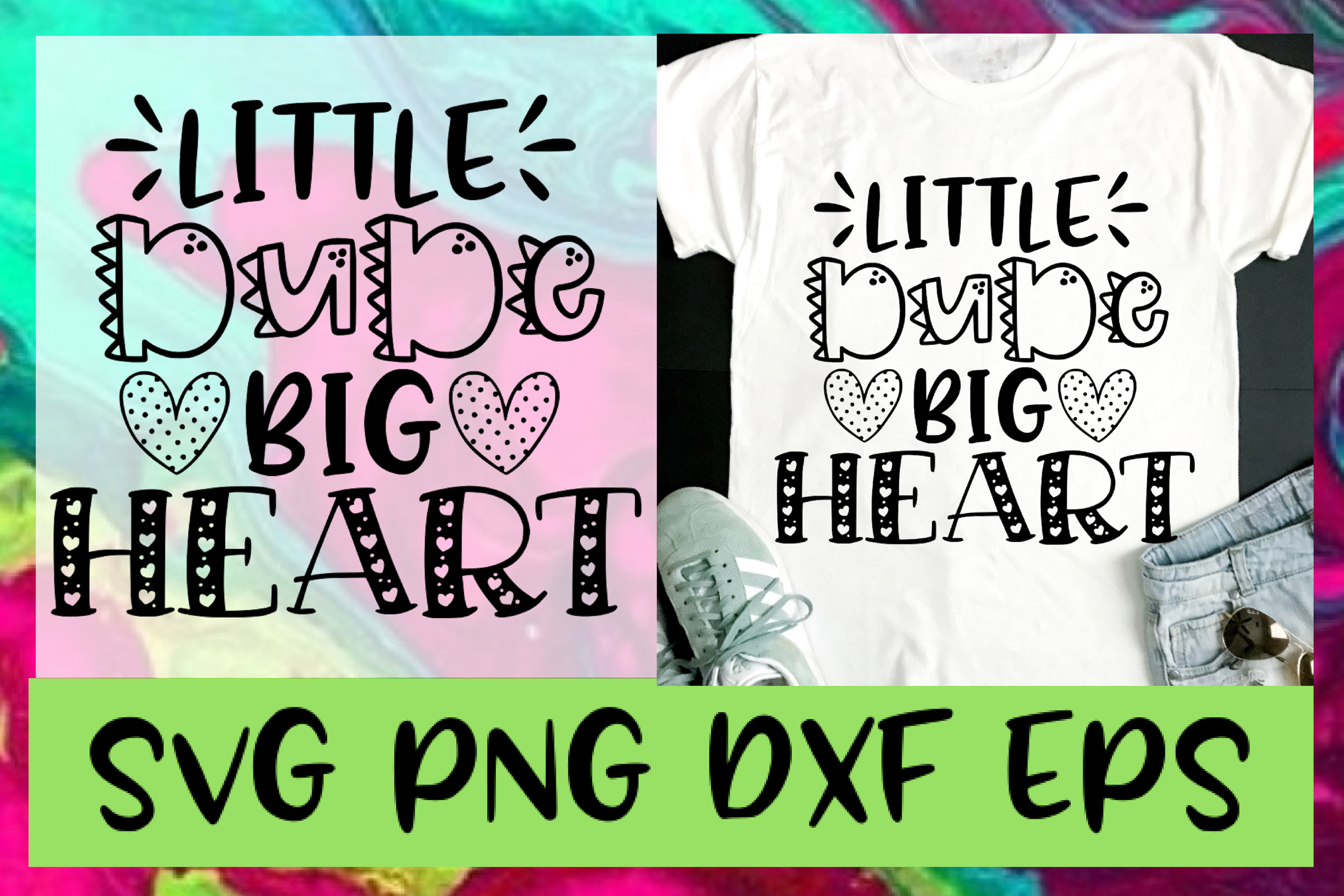 Little Dude Big Heart SVG PNG DXF & EPS Design Files example image 1