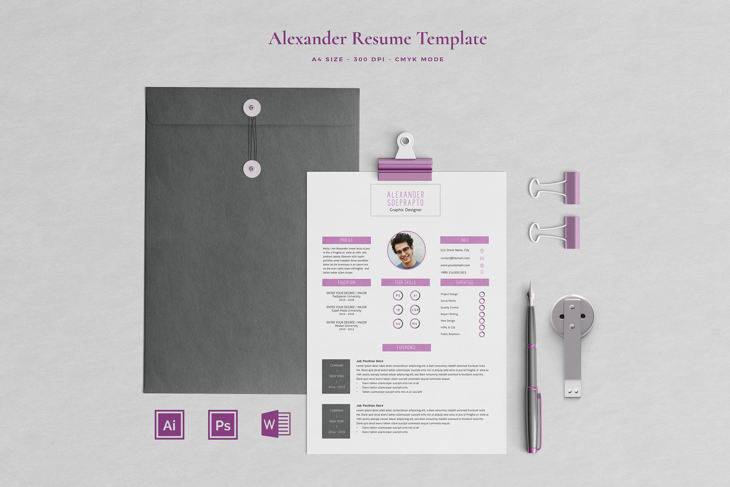 Alexander Resume with Cover Letter Professional Template example image 1