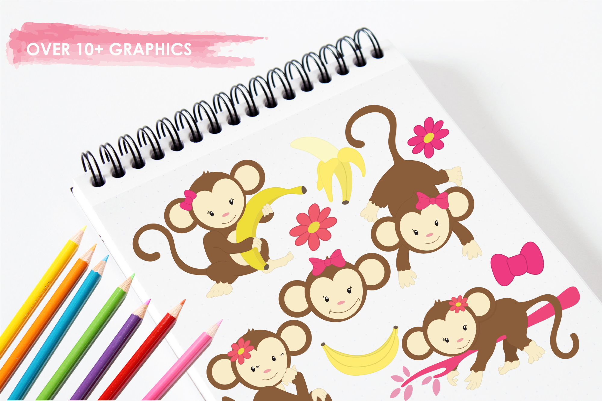 Pretty Monkeys graphics and illustrations example image 3