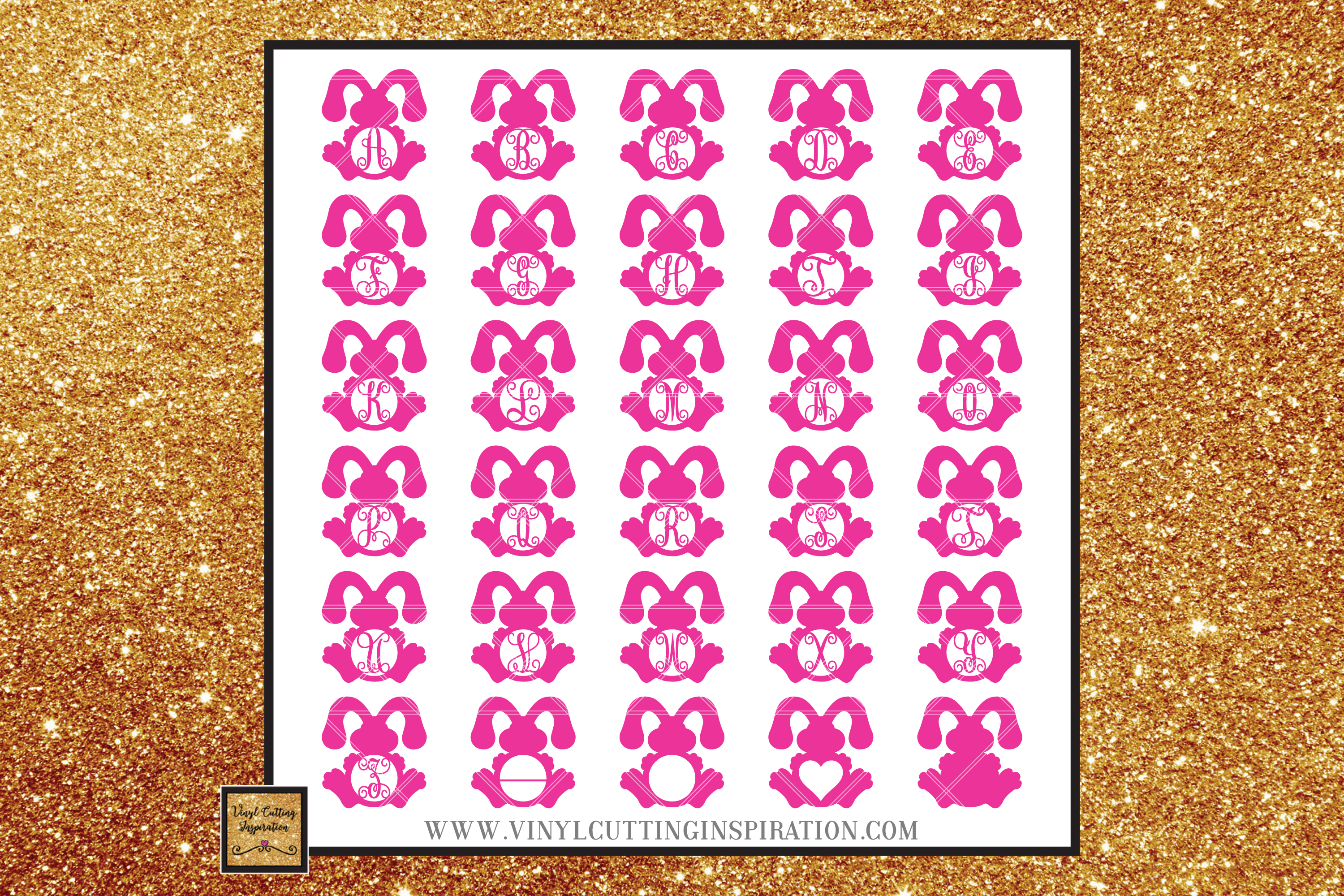 Easter Svg, Easter Bunny Svg, Rustic Bunny Monogram Bundle example image 2