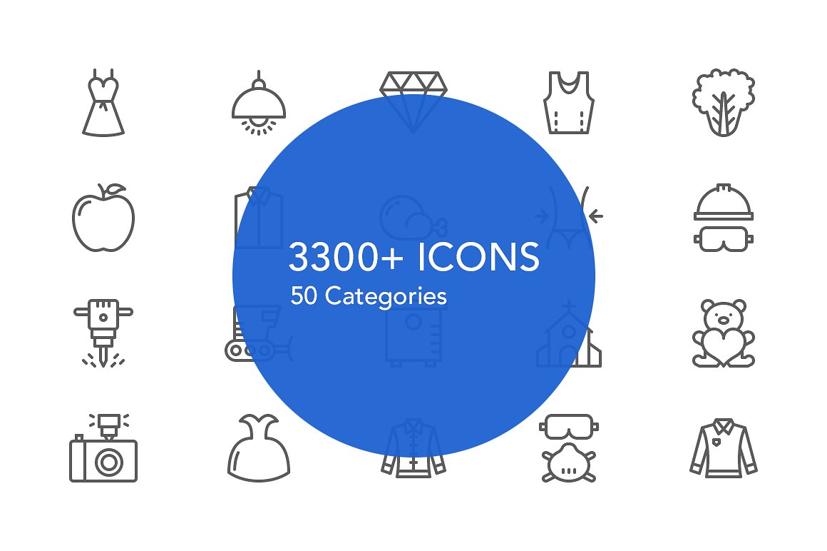 Slimicons - 3300 Line Vector Icons example image 3