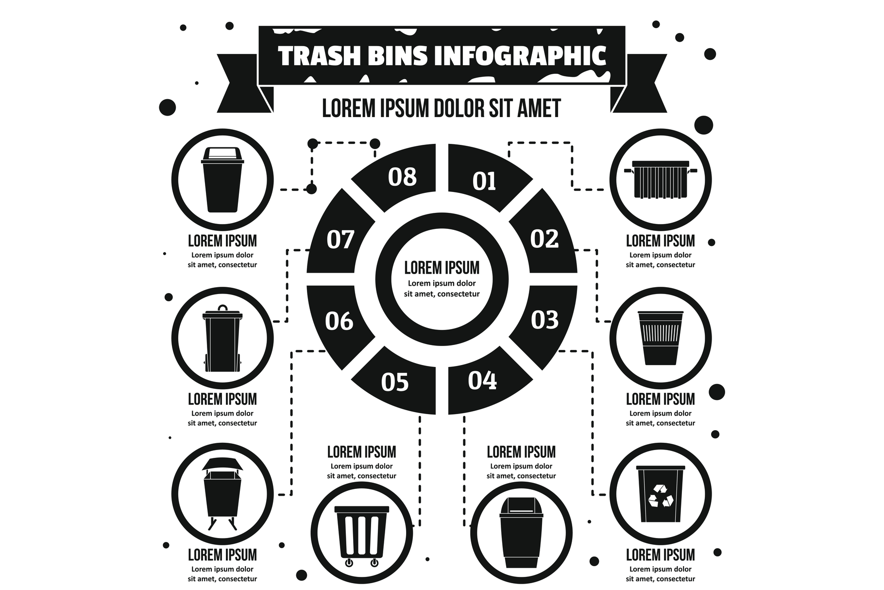 Trash bins infographic concept, simple style example image 1