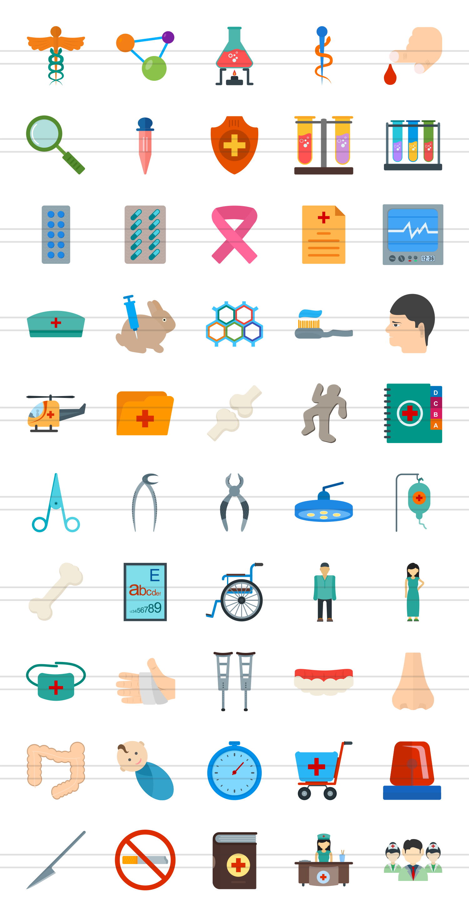 50 Healthcare Flat Multicolor Icons example image 2