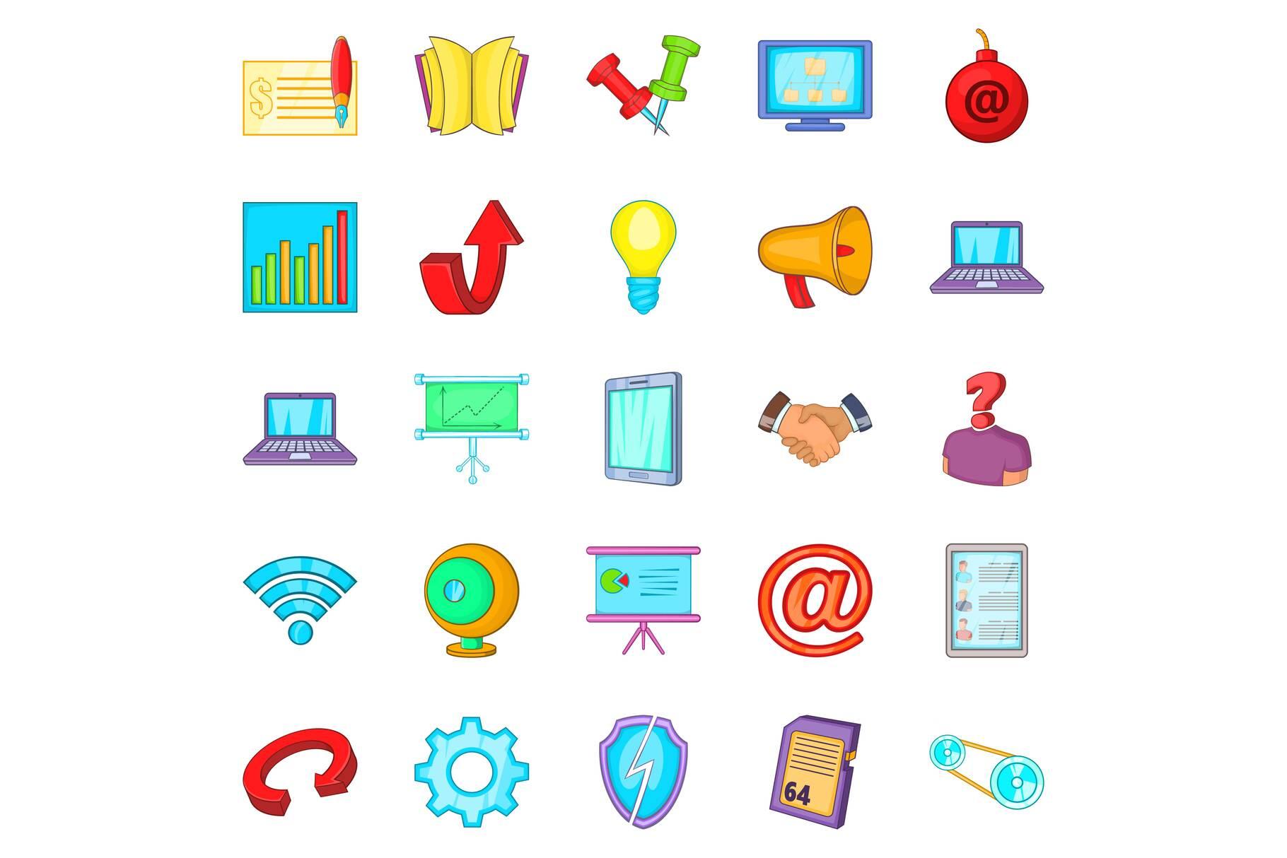 Manager icons set, cartoon style example image 1