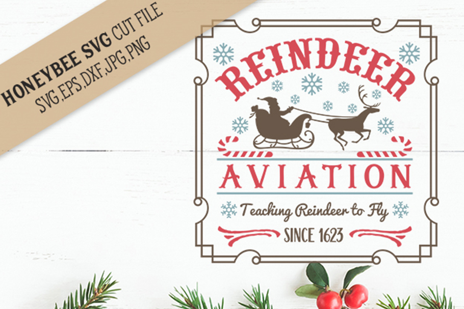 Reindeer Aviation svg Christmas svg example image 1