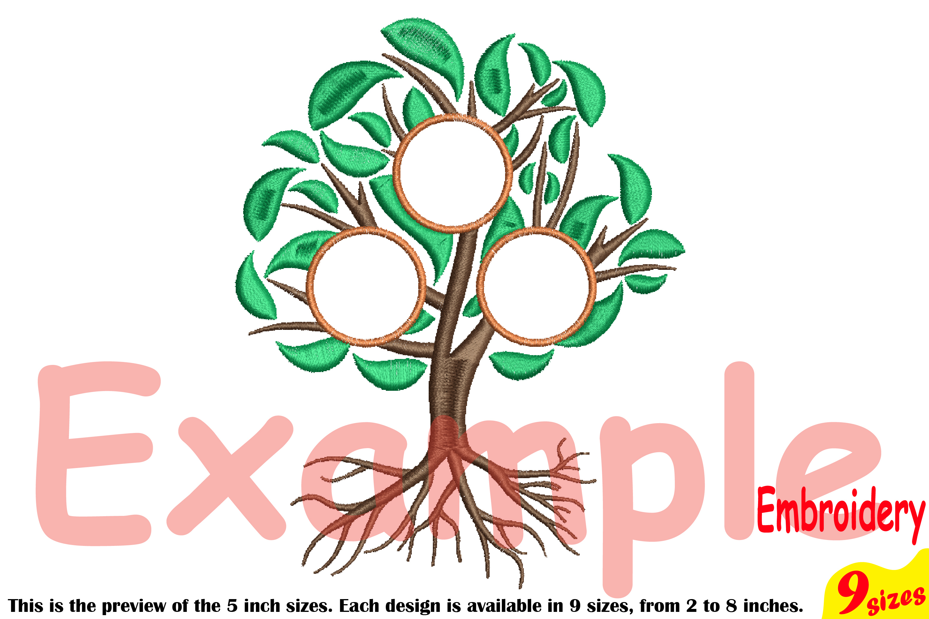 Family Tree Circle Embroidery Design Machine Instant Download Commercial Use digital Outline family love Frame Deep Roots Branches 207b example image 4