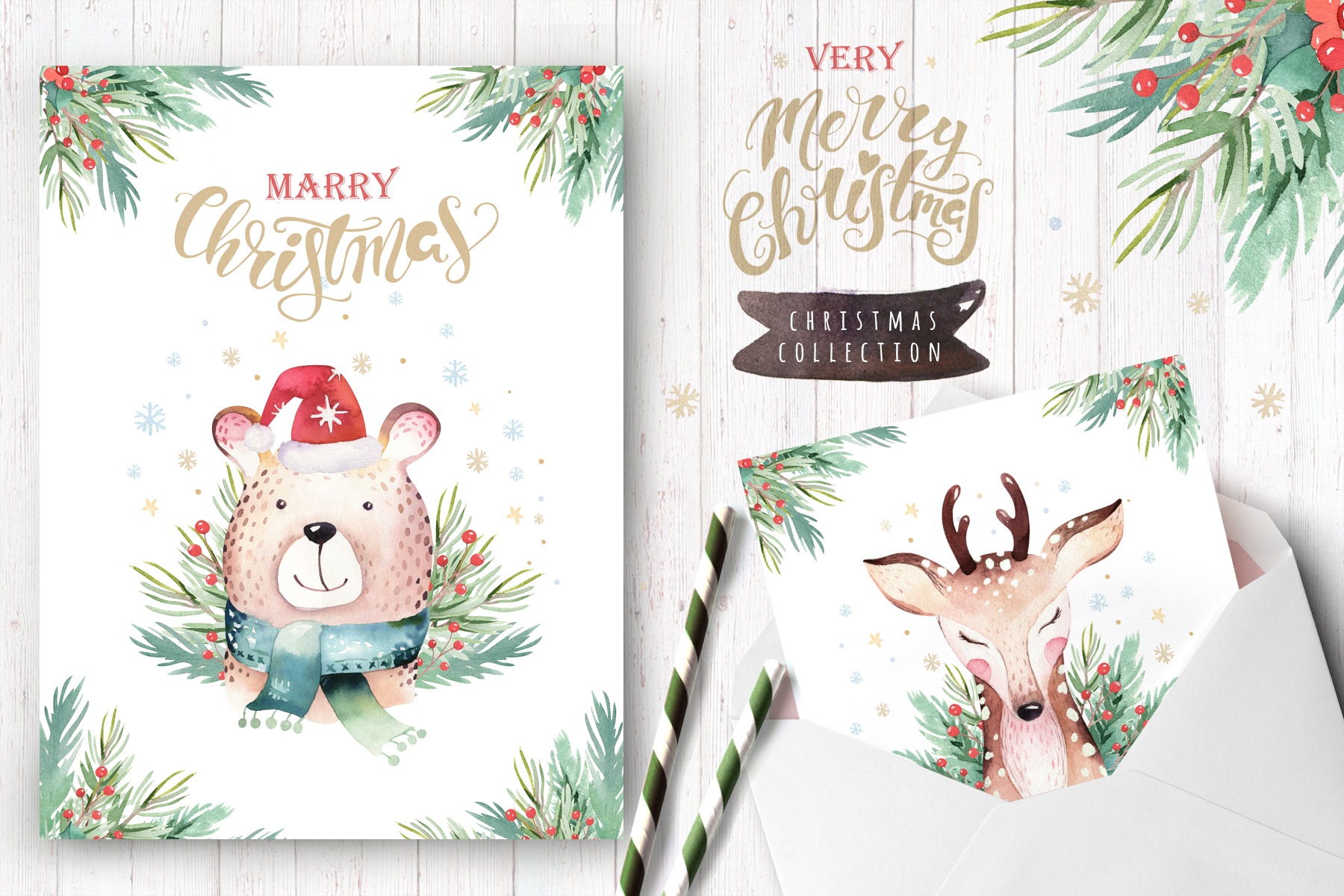 Watercolor Christmas animals raccoon, bear, deer and penguin example image 9