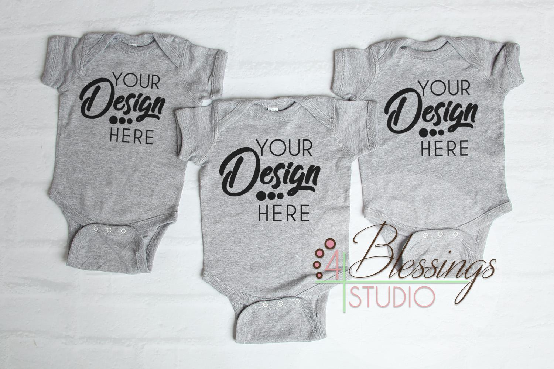 Triplet Three Blank Gray Baby Bodysuits Shirt Mockup example image 1
