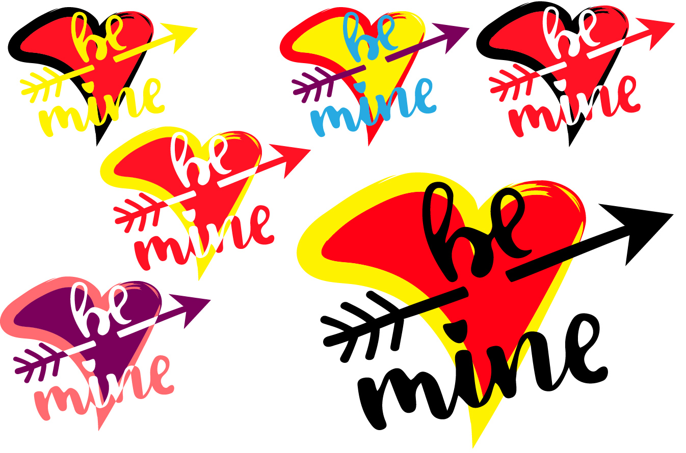 Be mine SVG love heart Valentines Day Arrow -70sv example image 2