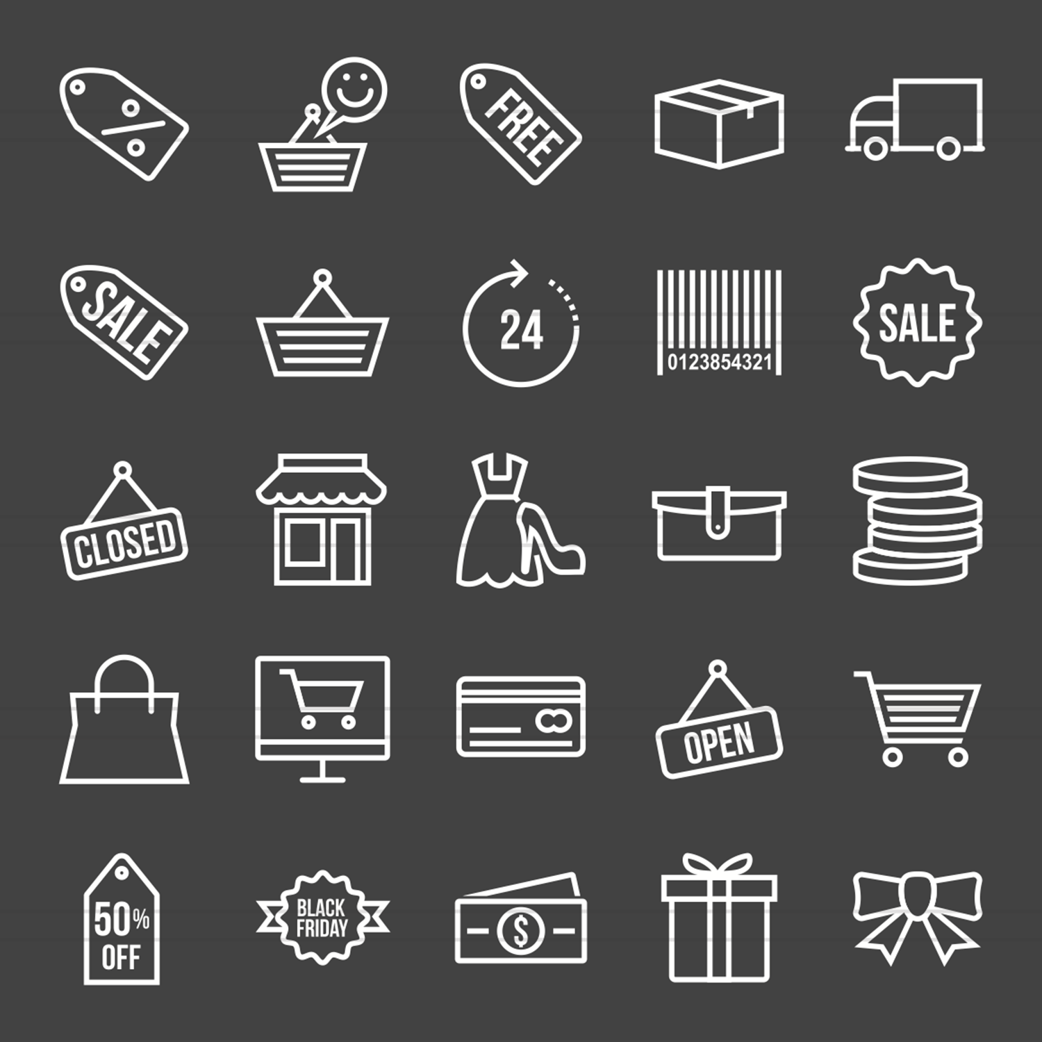 25 Black Friday Inverted Icons example image 2