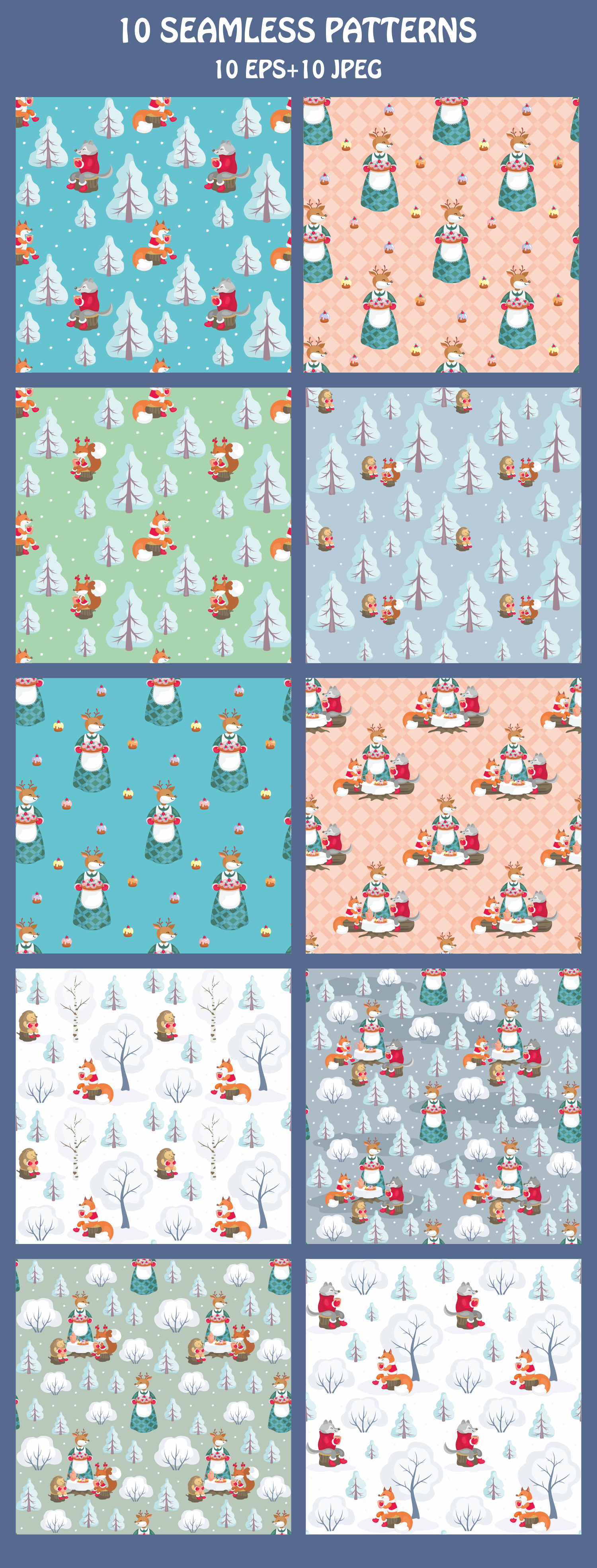 Winter Tea Party. Seamless patterns set. example image 2