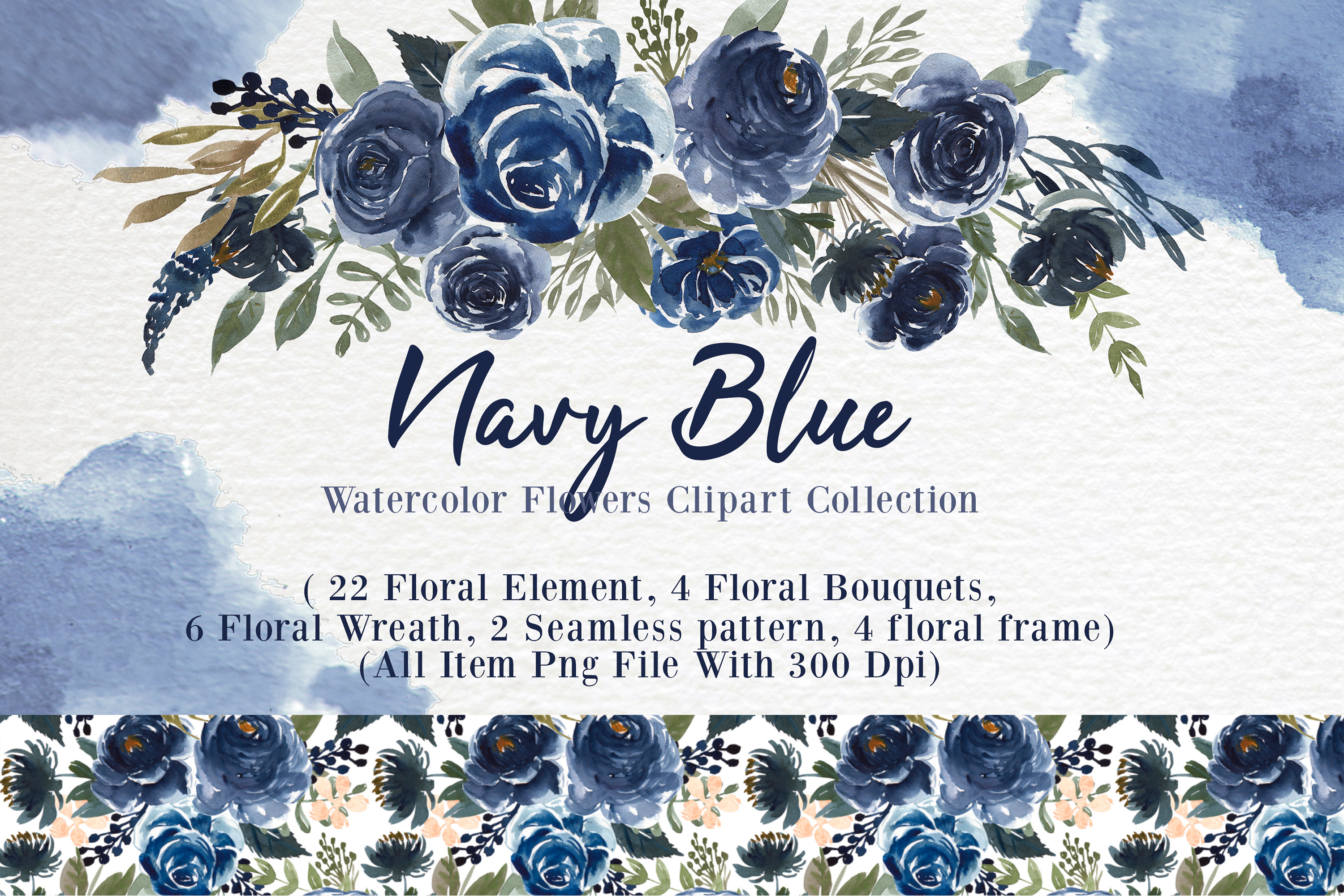 Navy Blue Flower Watercolor Clip-art example image 1