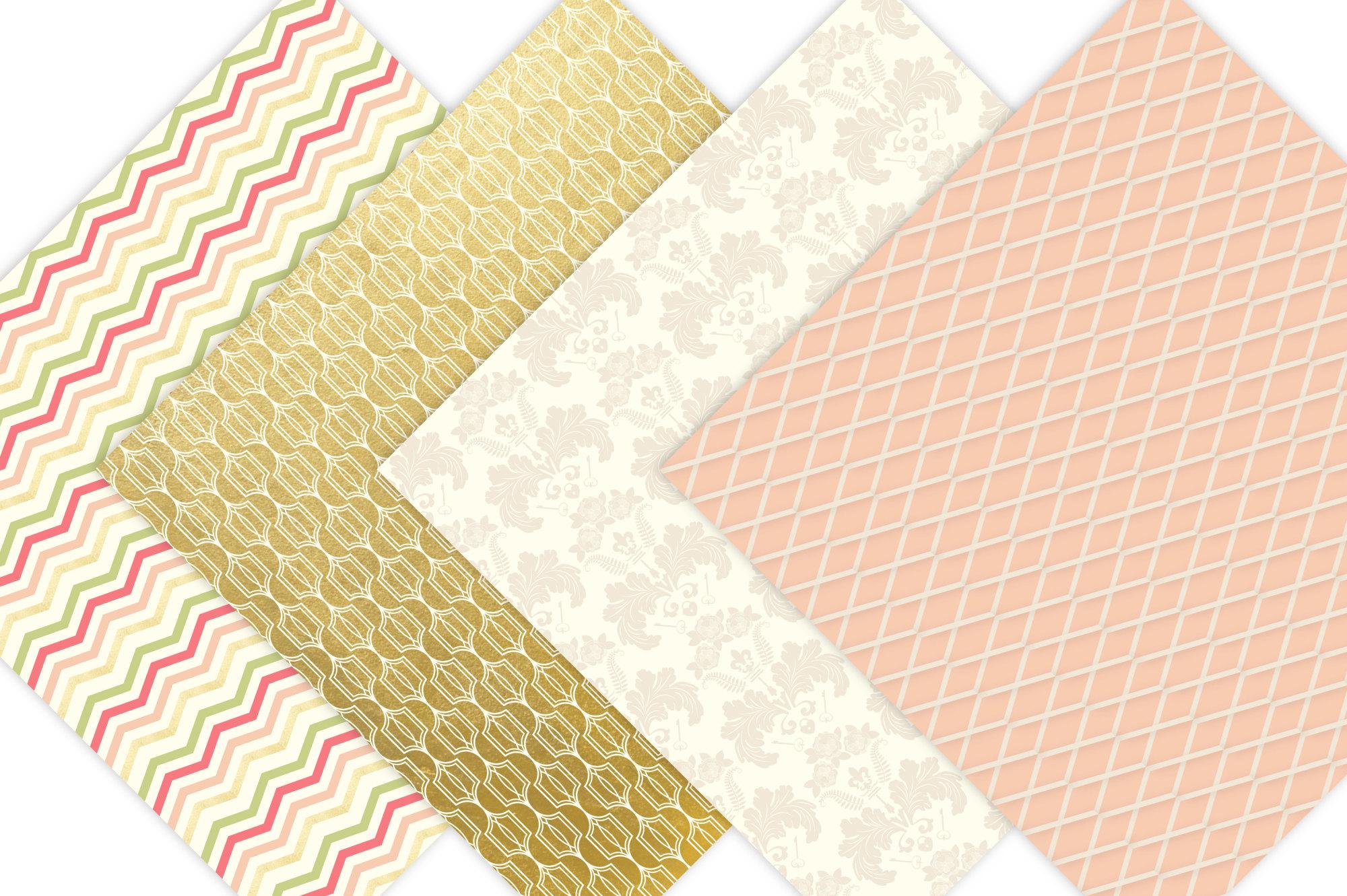 Gold Floral Digital Patterns - Digital Scrapbook Paper example image 4