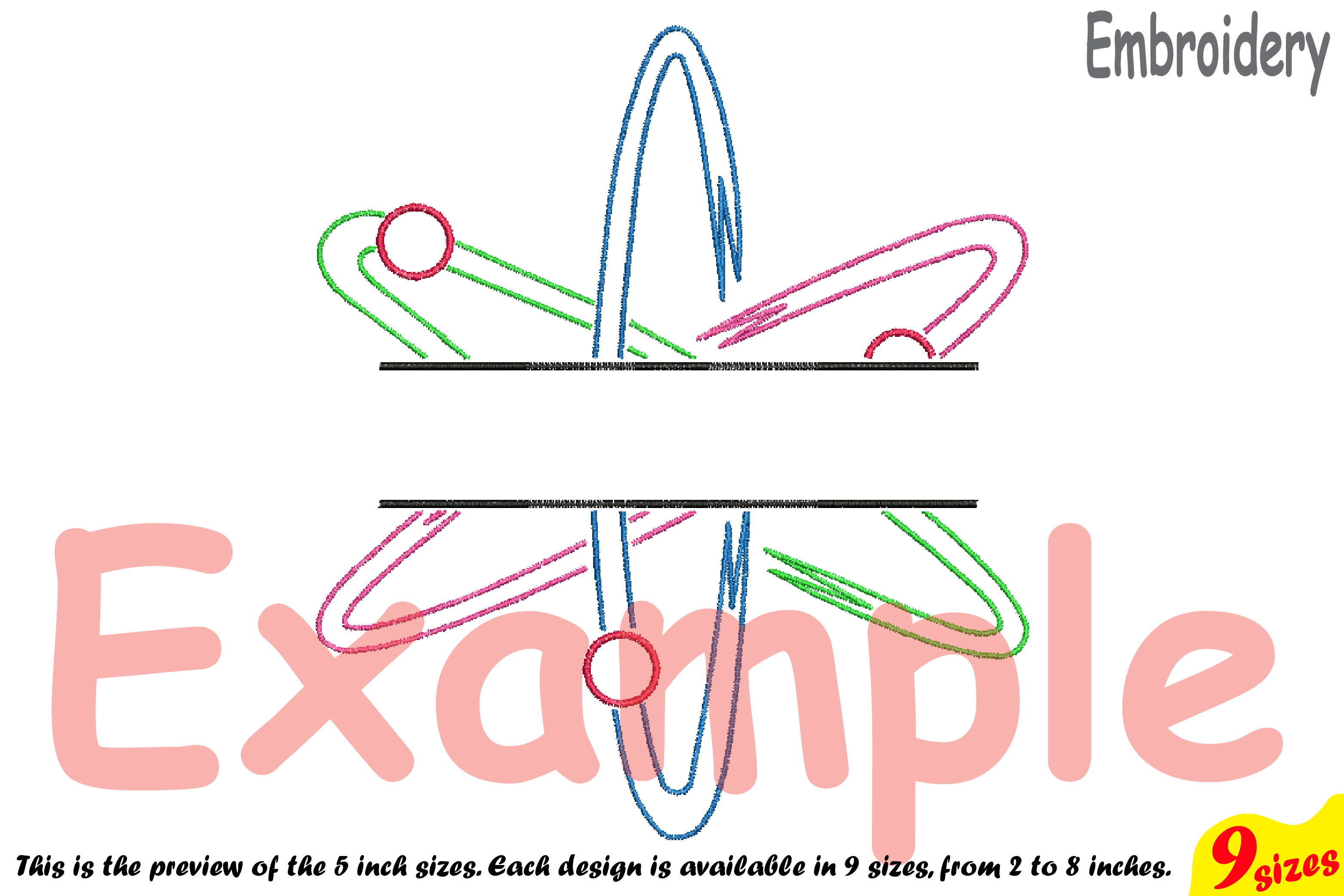 Split Atom Science Designs for Embroidery Machine Instant Download Commercial Use digital file hoop sign Nuclear Fission outline 192b example image 4