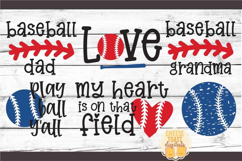 Baseball Bundle - 14 Designs - SVG PNG DXF Cut Files example image 2