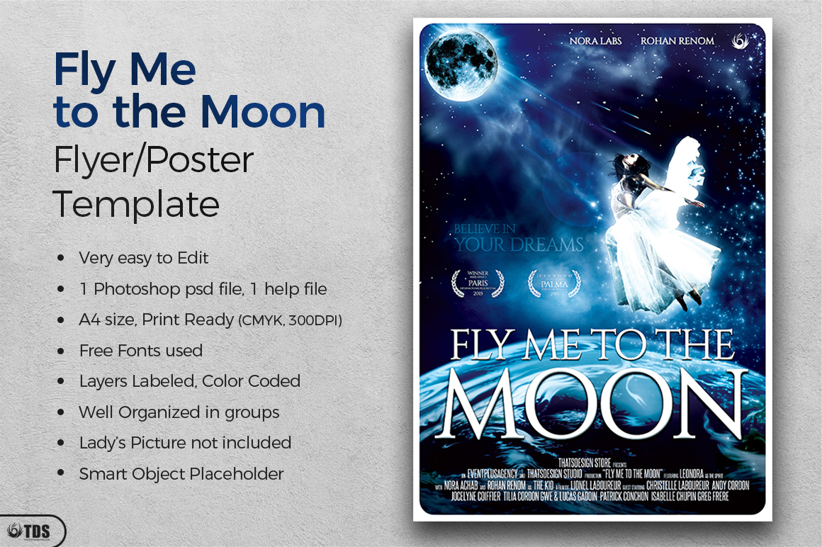 Fly Me to the Moon Movie Poster Template example image 2