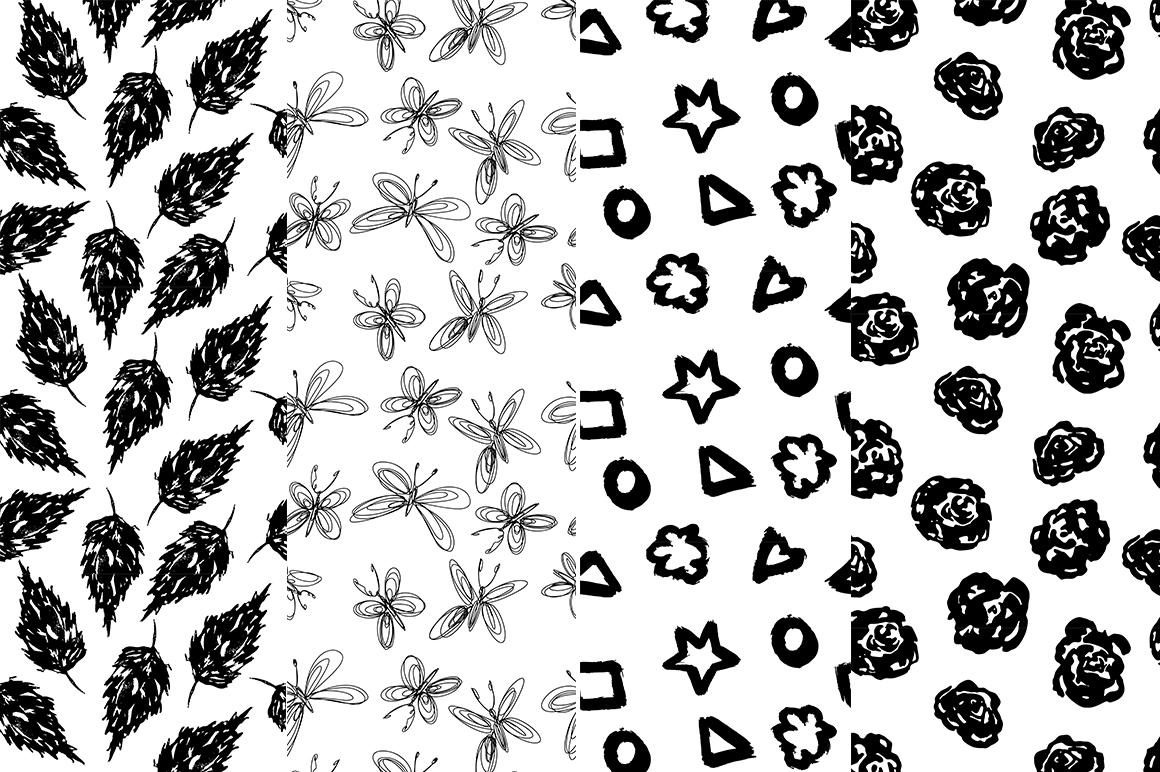37 monochrome patterns. Hand drawn seamless backgrounds. example image 3