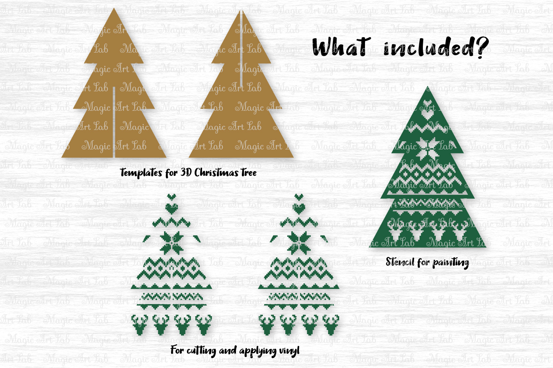 3D Christmas tree svg, 3D Christmas tree template, Tree svg example image 2