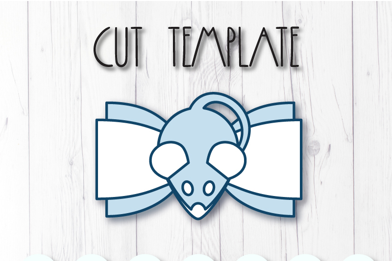 Mouse hair bow template SVG, DIY leather bow template example image 2