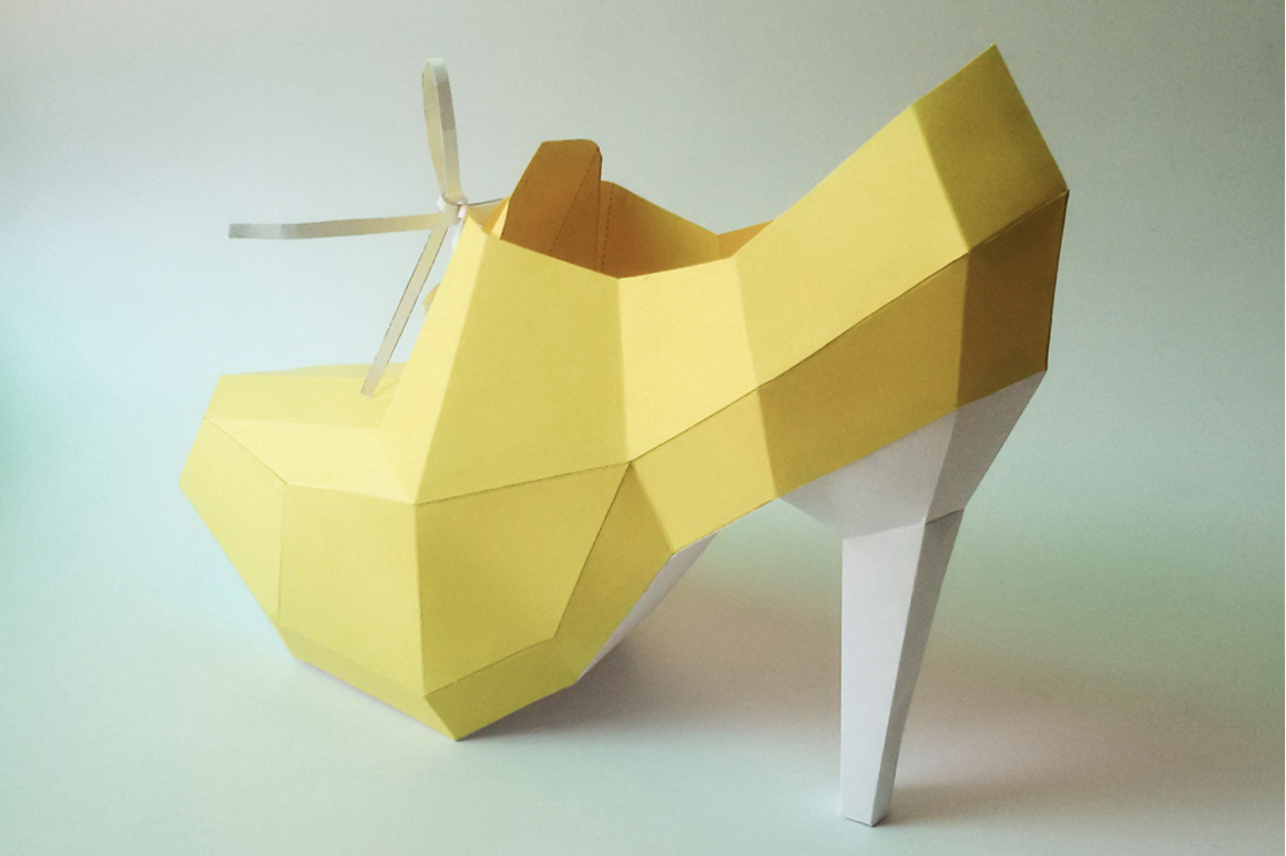 DIY High Heel Ankle Boot - 3d papercraft example image 4