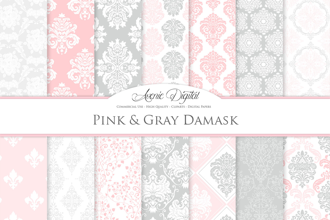 28 Pink and Gray Damask Patterns - Seamless Digital Papers Bundle example image 2