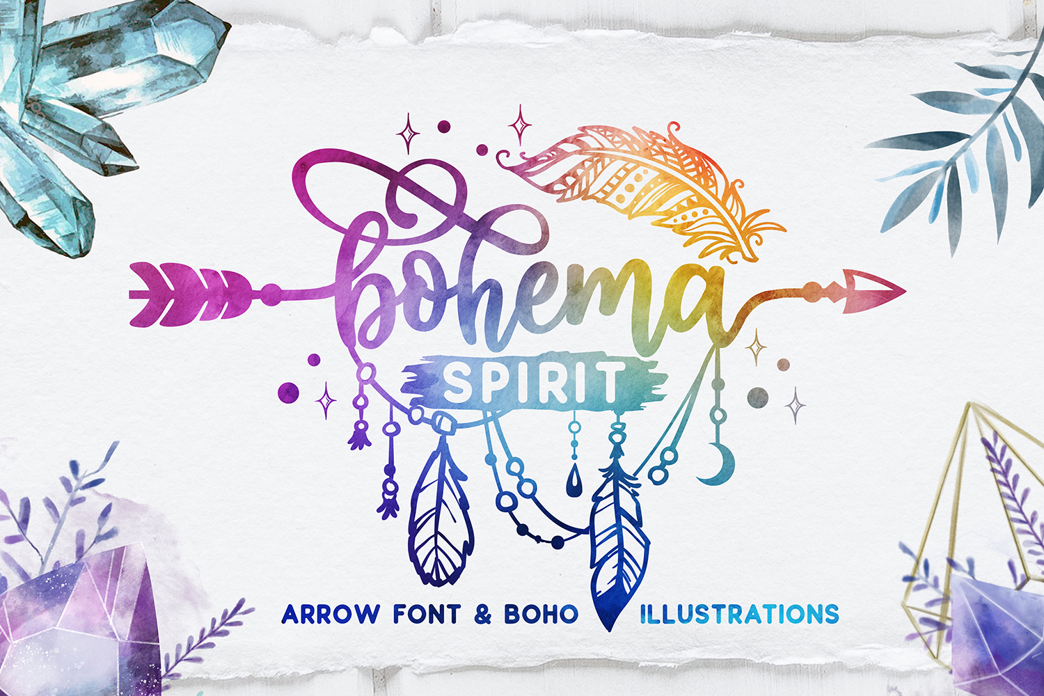 Bohema Spirit font and illustrations example image 1